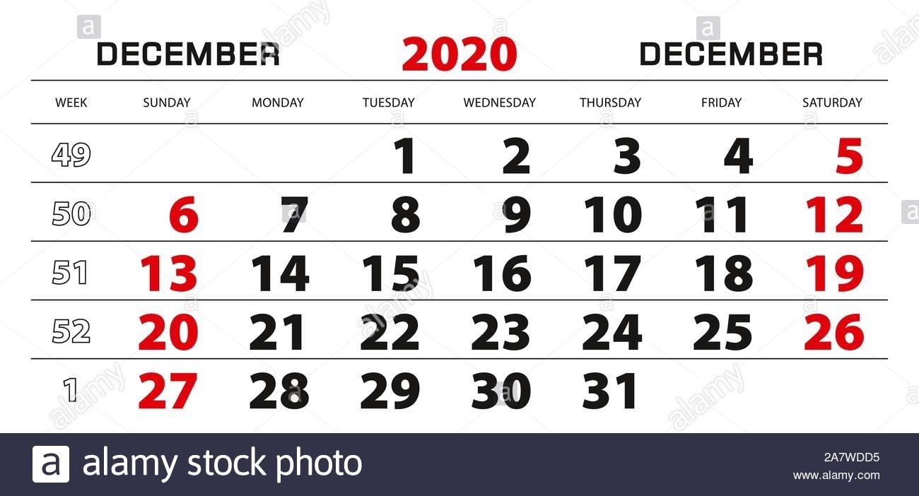 Wall Calendar 2020 For December, Week Start From Sunday