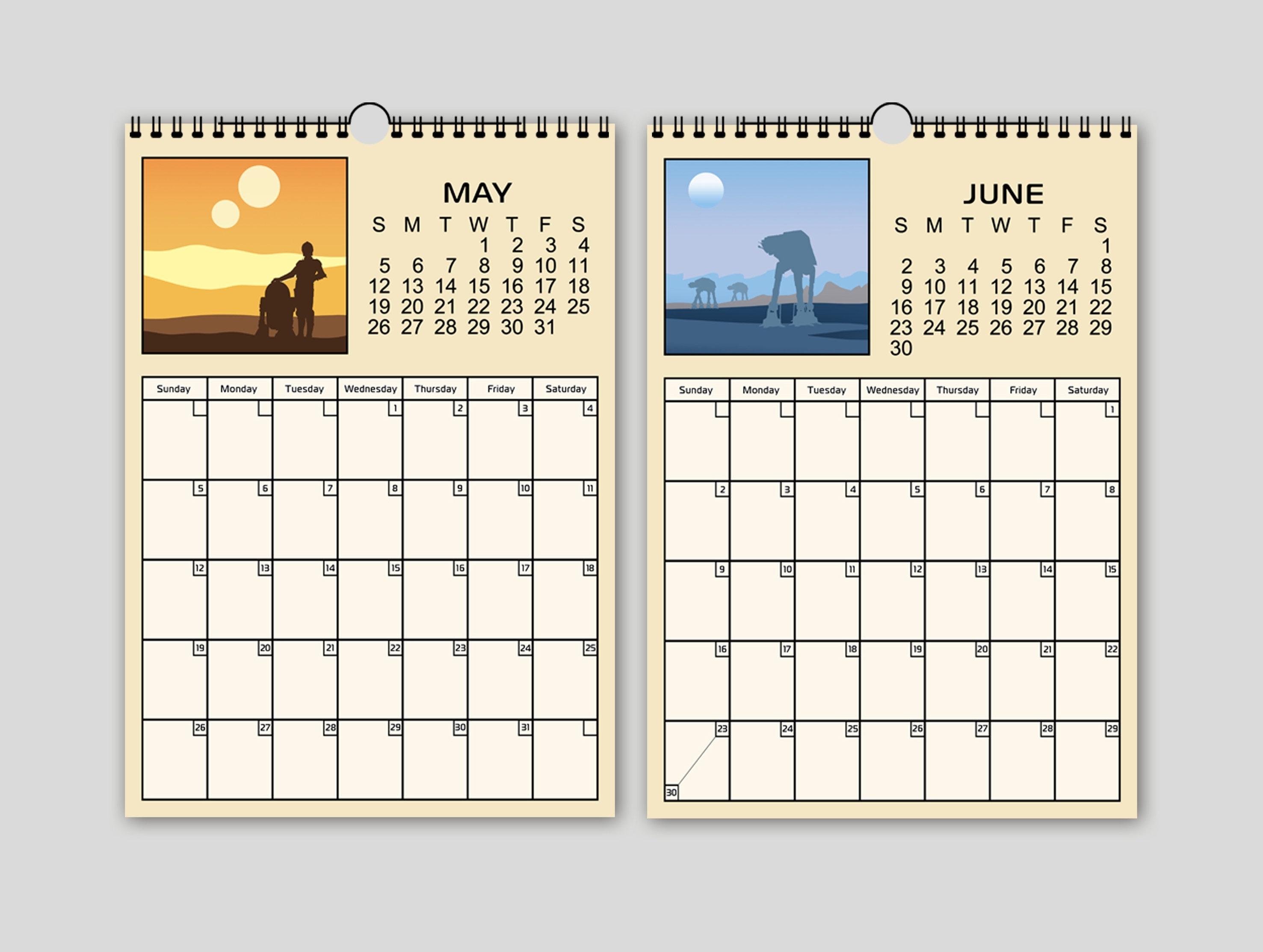 Wall Calendar / Calendar 2019 / Calendar Star Wars / Planner Star Wars /  Star Wars Print / Star Wars Poster / Star Wars Gift / Star Wars Art