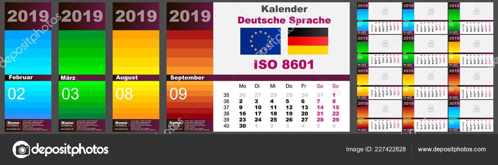 Wall Calendar Deutsche German Dutch Language For 2019, Iso