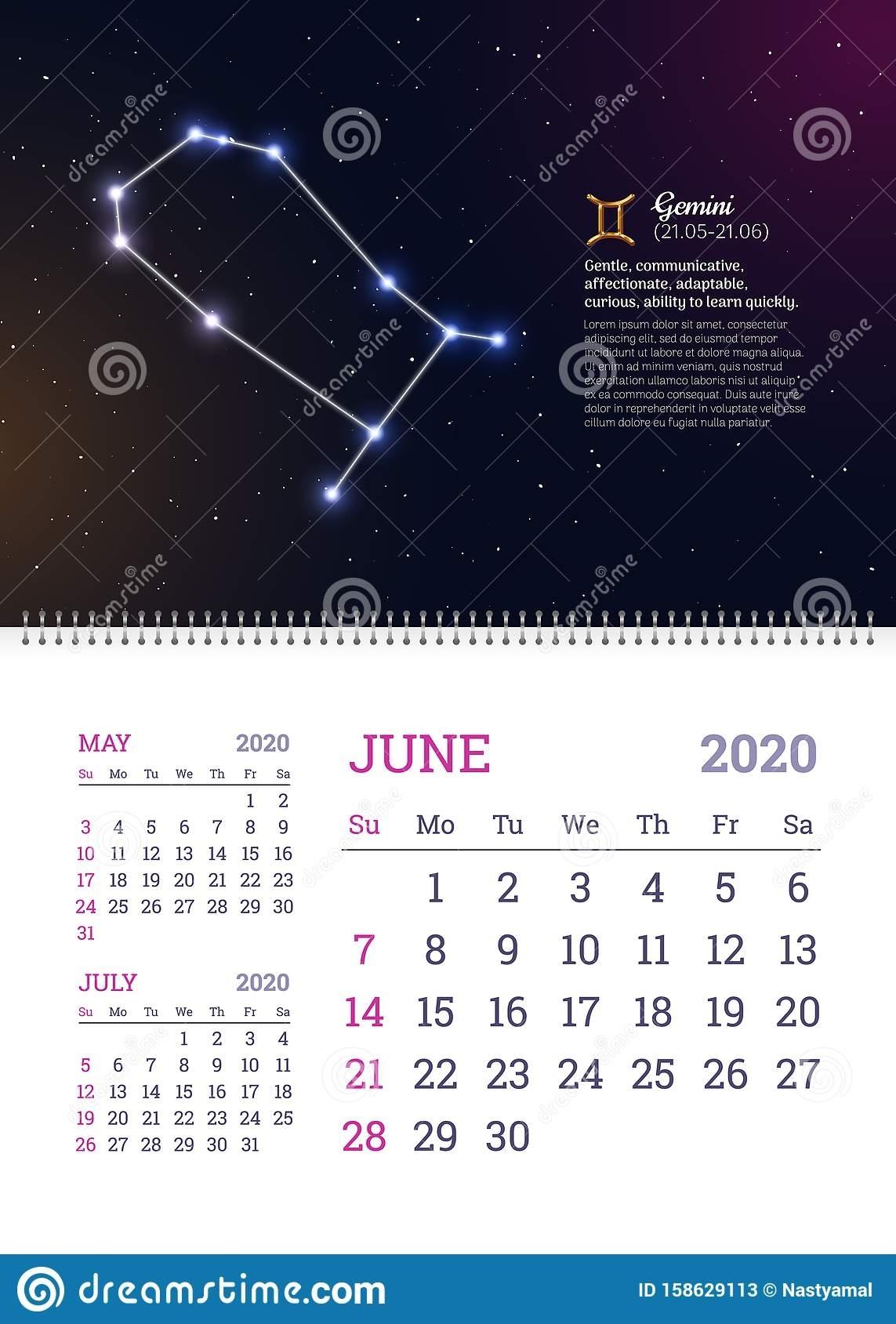 Wall Calendar For June 2020 Year Stock Vector - Illustration