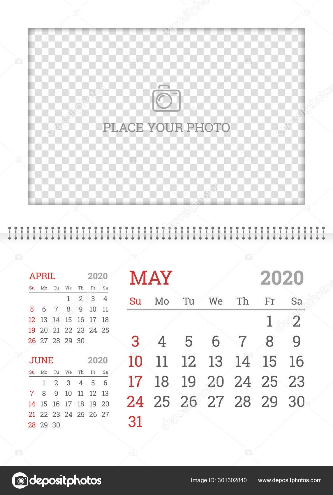 Wall Calendar Planner Template For May 2020 — Stock Vector