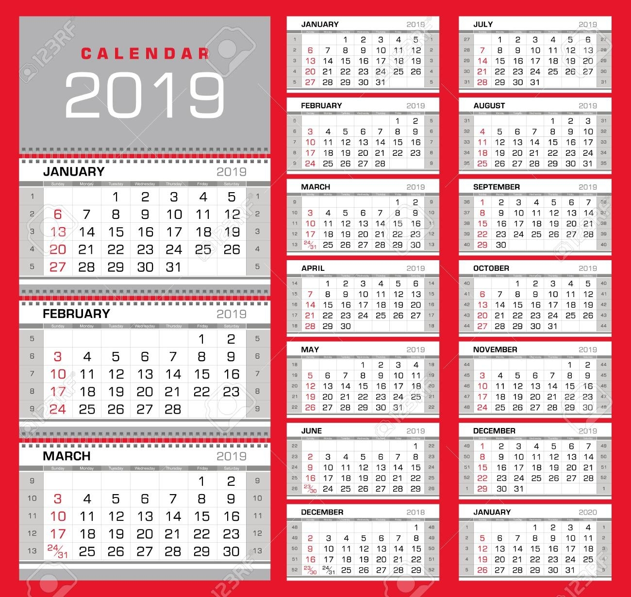 Wall Quarterly Calendar 2019 With Week Numbers On White Background