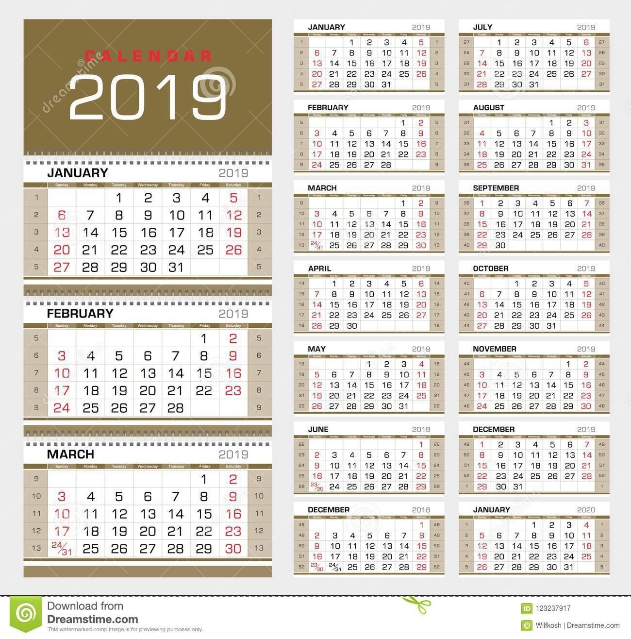 Wall Quarterly Calendar 2019 With Week Numbers. Week Start