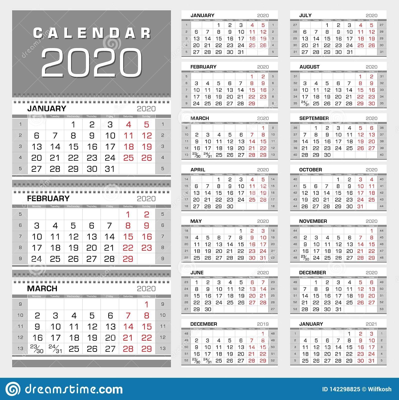 Wall Quarterly Calendar 2020 With Week Numbers. Week Start