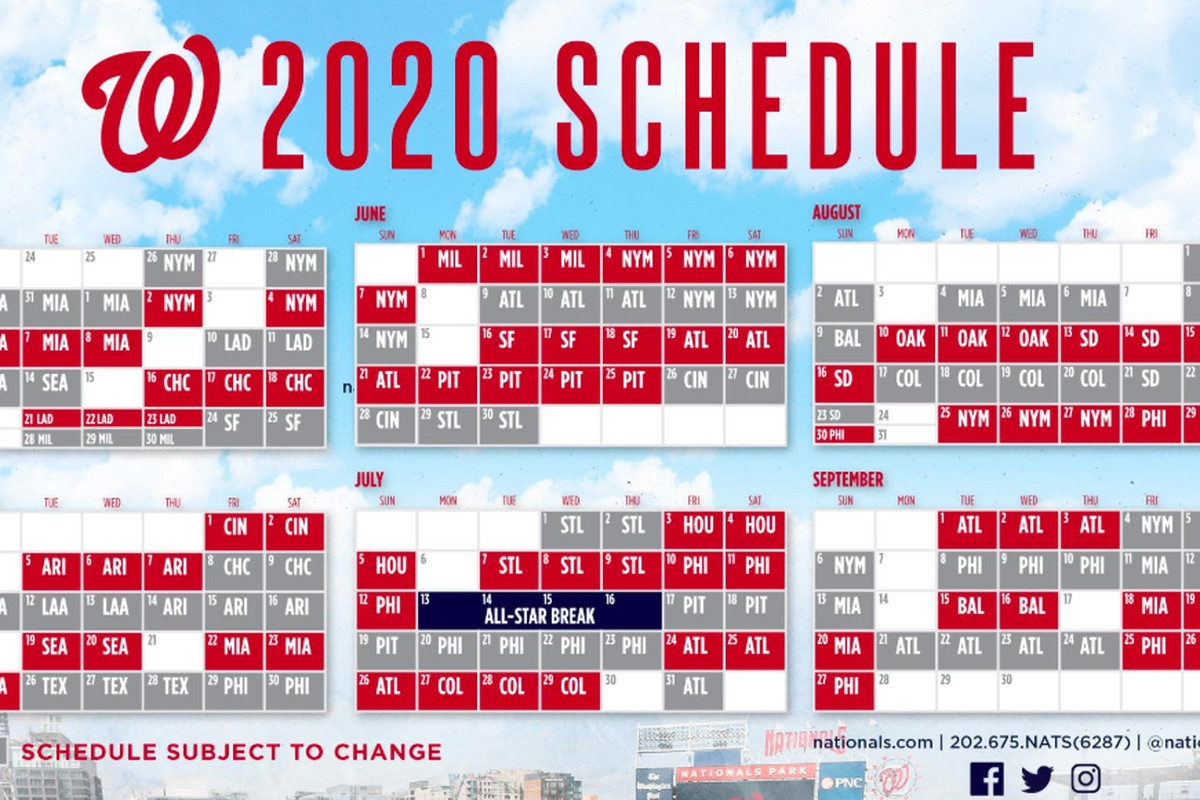 Washington Nationals' 2020 Schedule Released; Highlights
