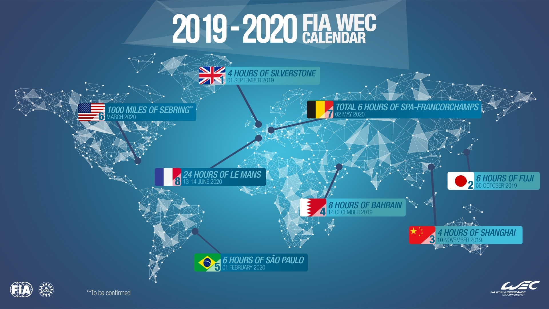 Wec - 2019/2020 Fia Wec Calendar Is Approved | Federation