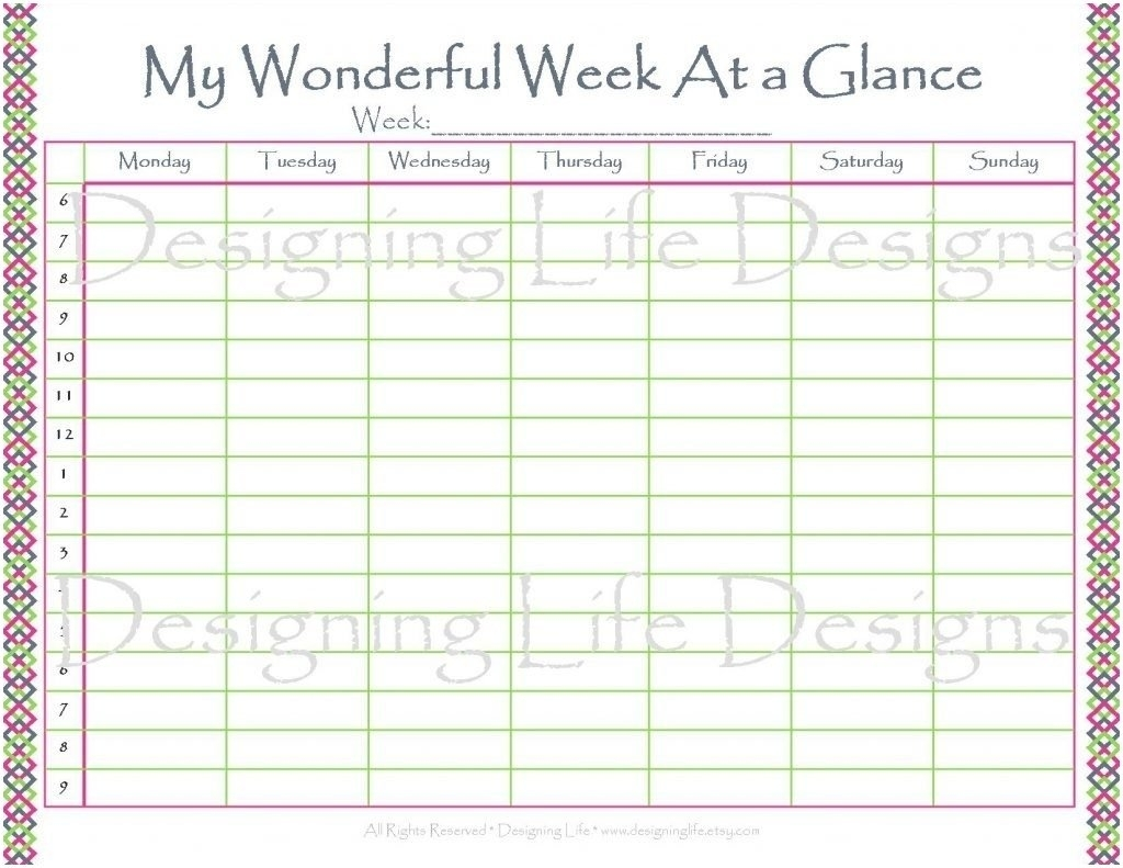 Week At A Glance Calendar 2019 To Download Or Print