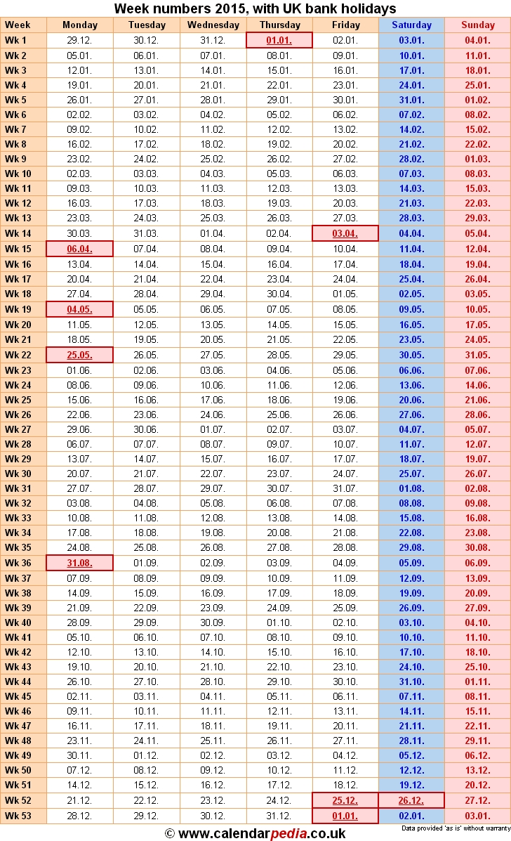 Week Numbers 2015, With Bank Holidays & Excel/pdf/word Templates