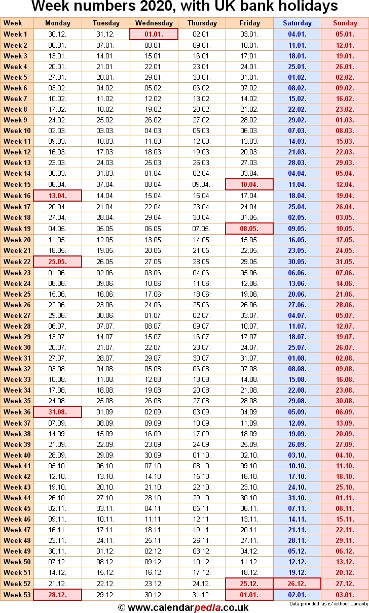 Week Numbers 2020, With Bank Holidays & Excel/pdf/word Templates