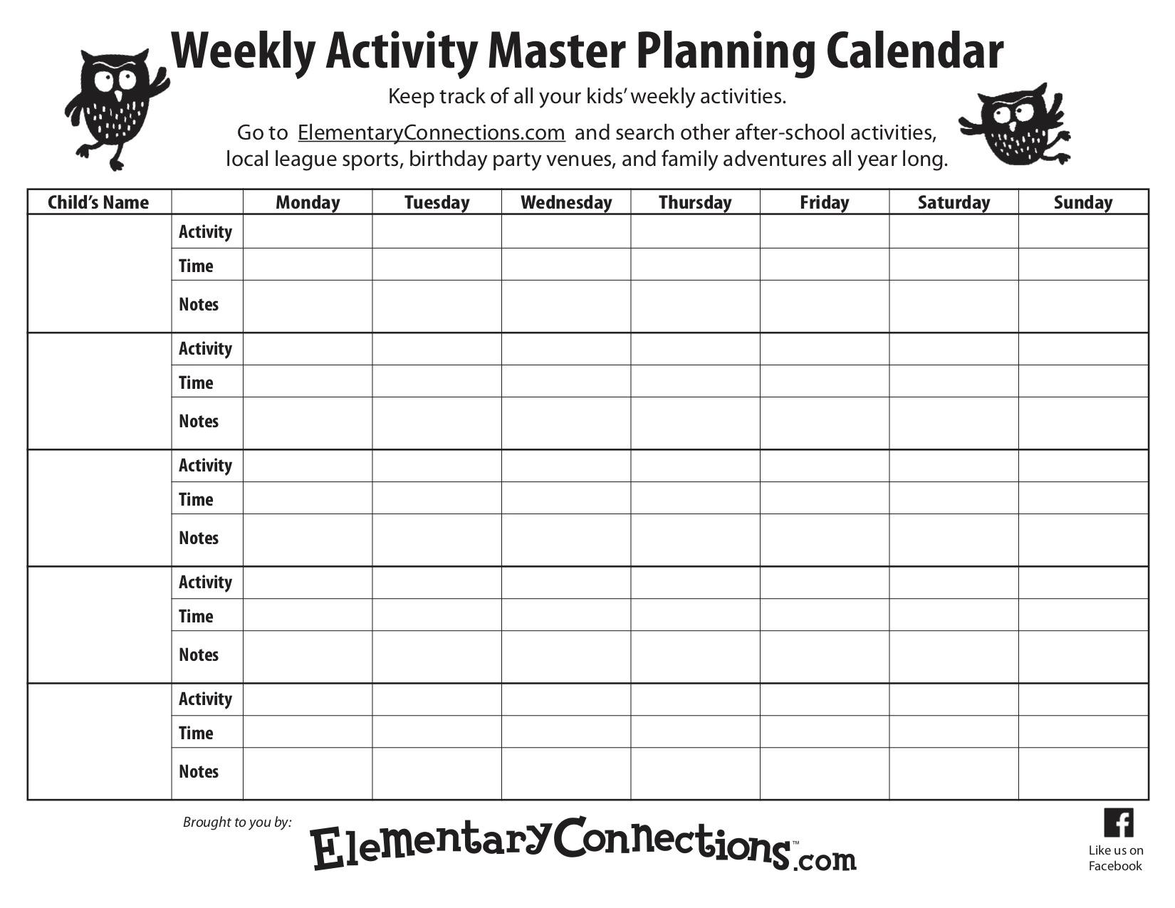 Weekly Activity Planning Calendar