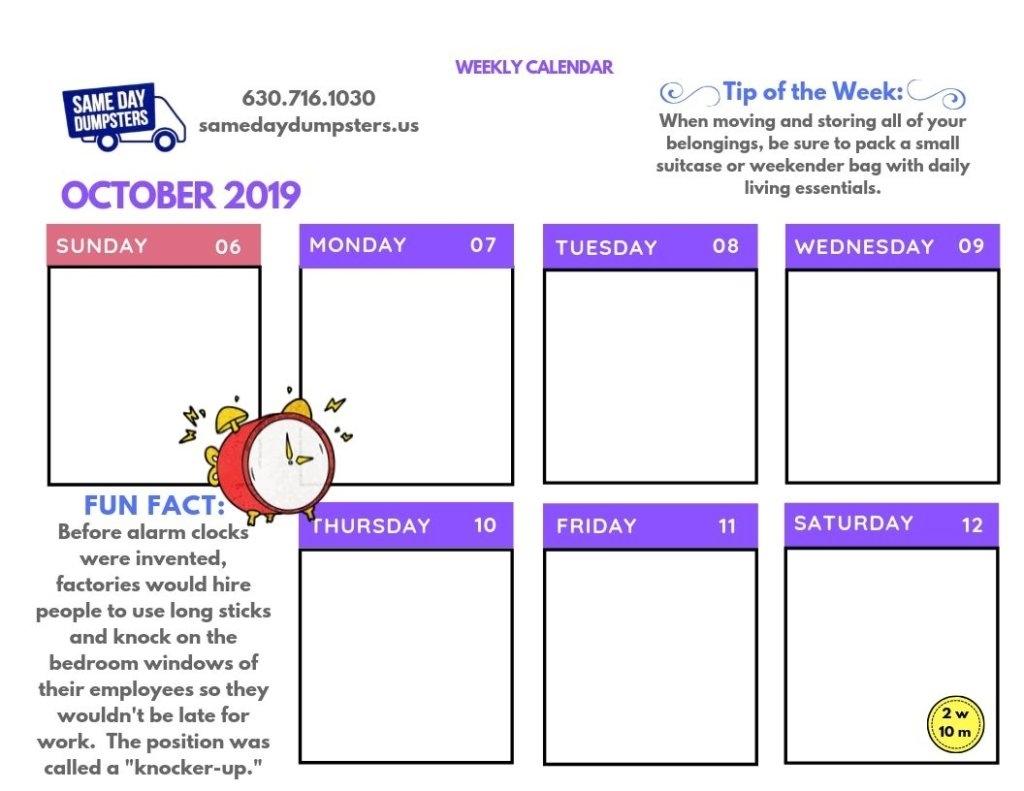 Weekly Calendar 10-2019 Week 2   Same Day Dumpsters Rental