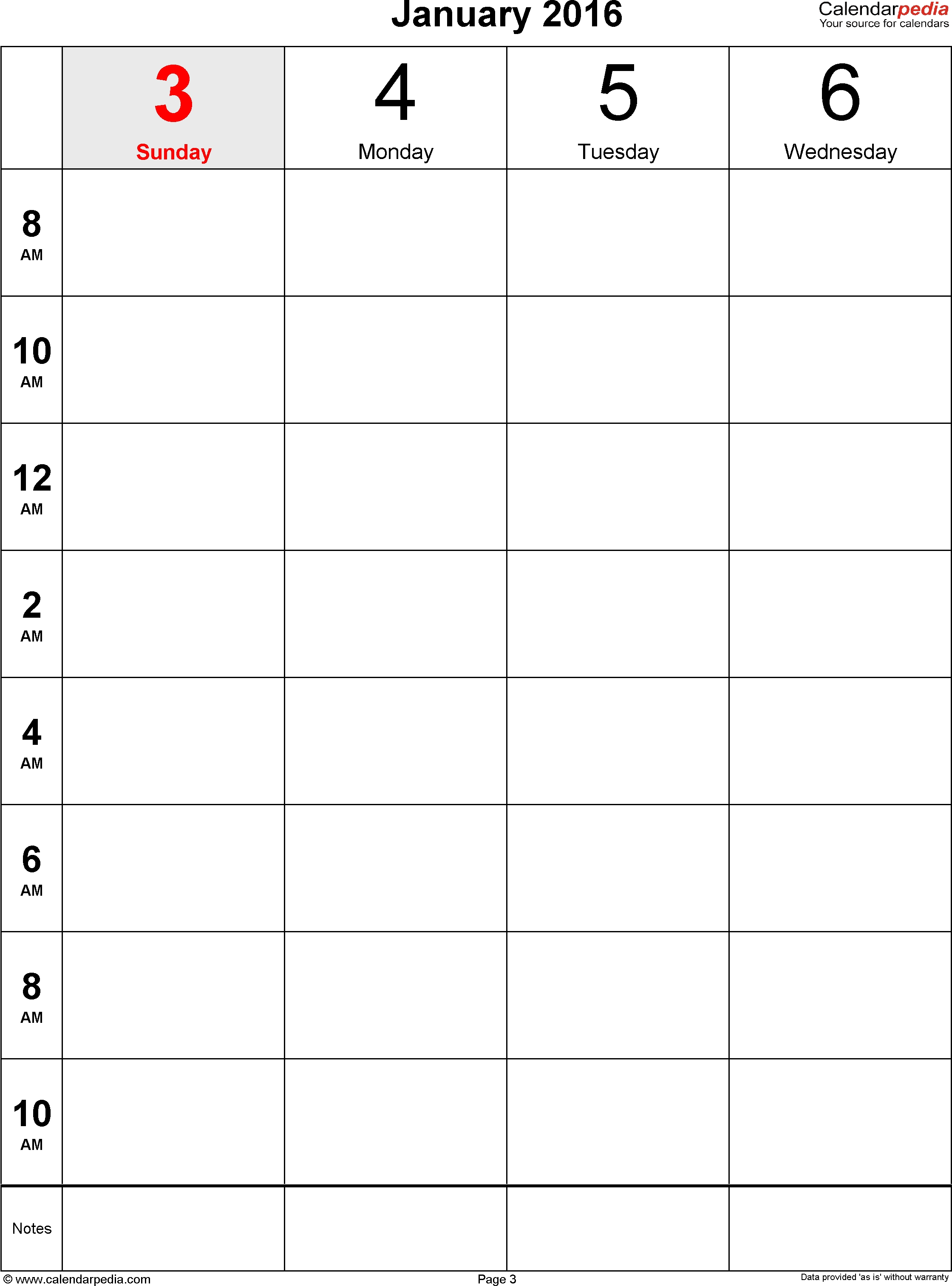 Weekly Calendar 2016 For Word – 12 Free Printable Templates