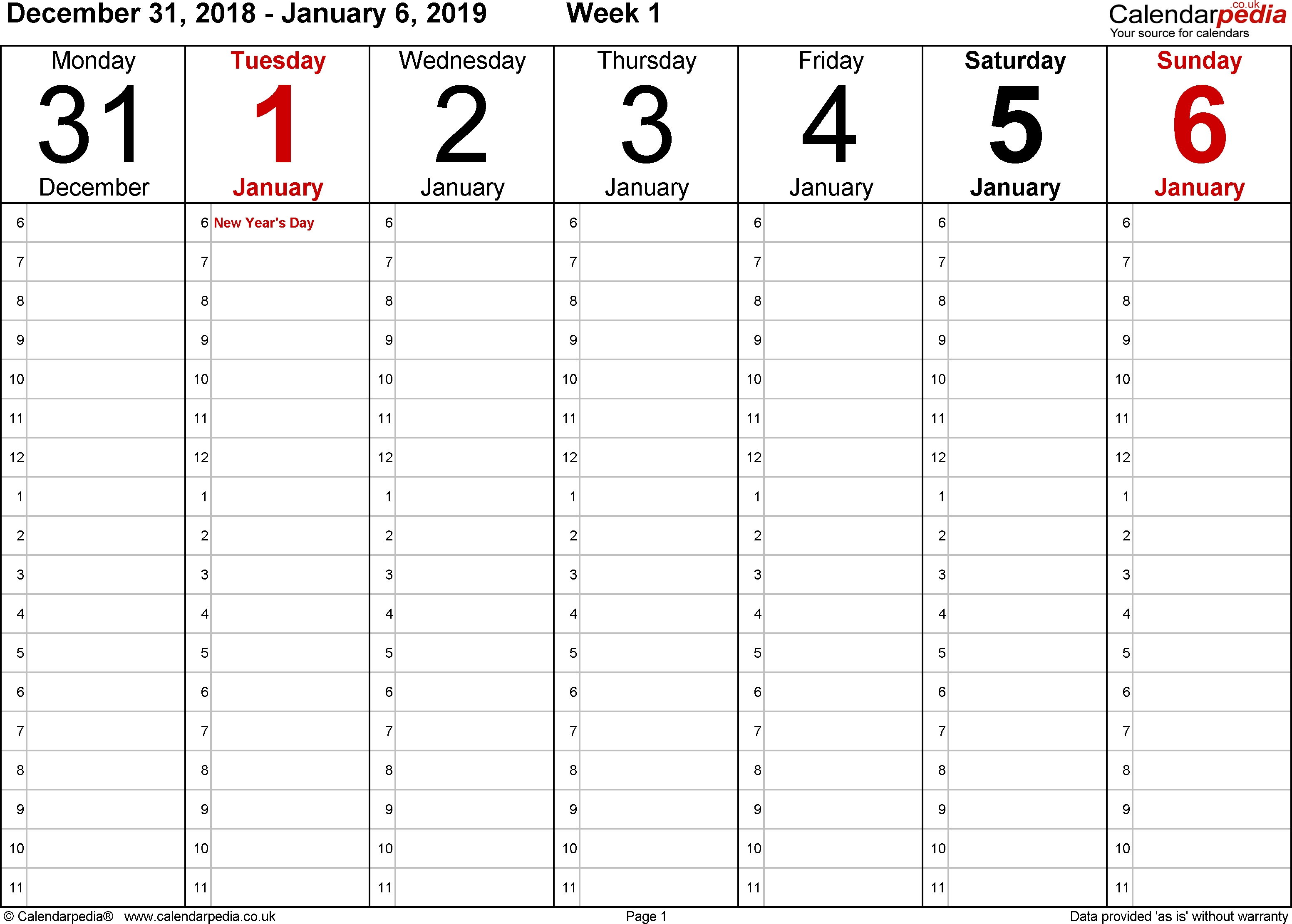 Weekly Calendar 2019 Uk - Free Printable Templates For Excel