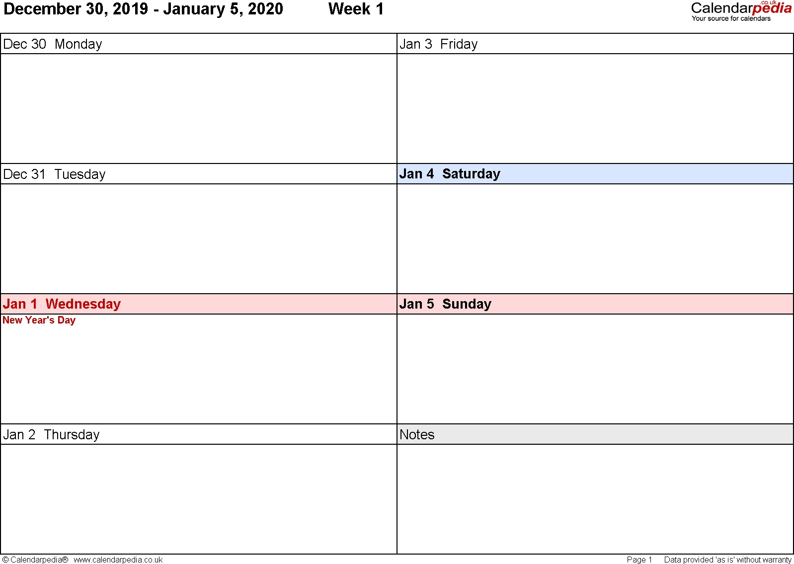 Weekly Calendar 2020 Uk - Free Printable Templates For Excel