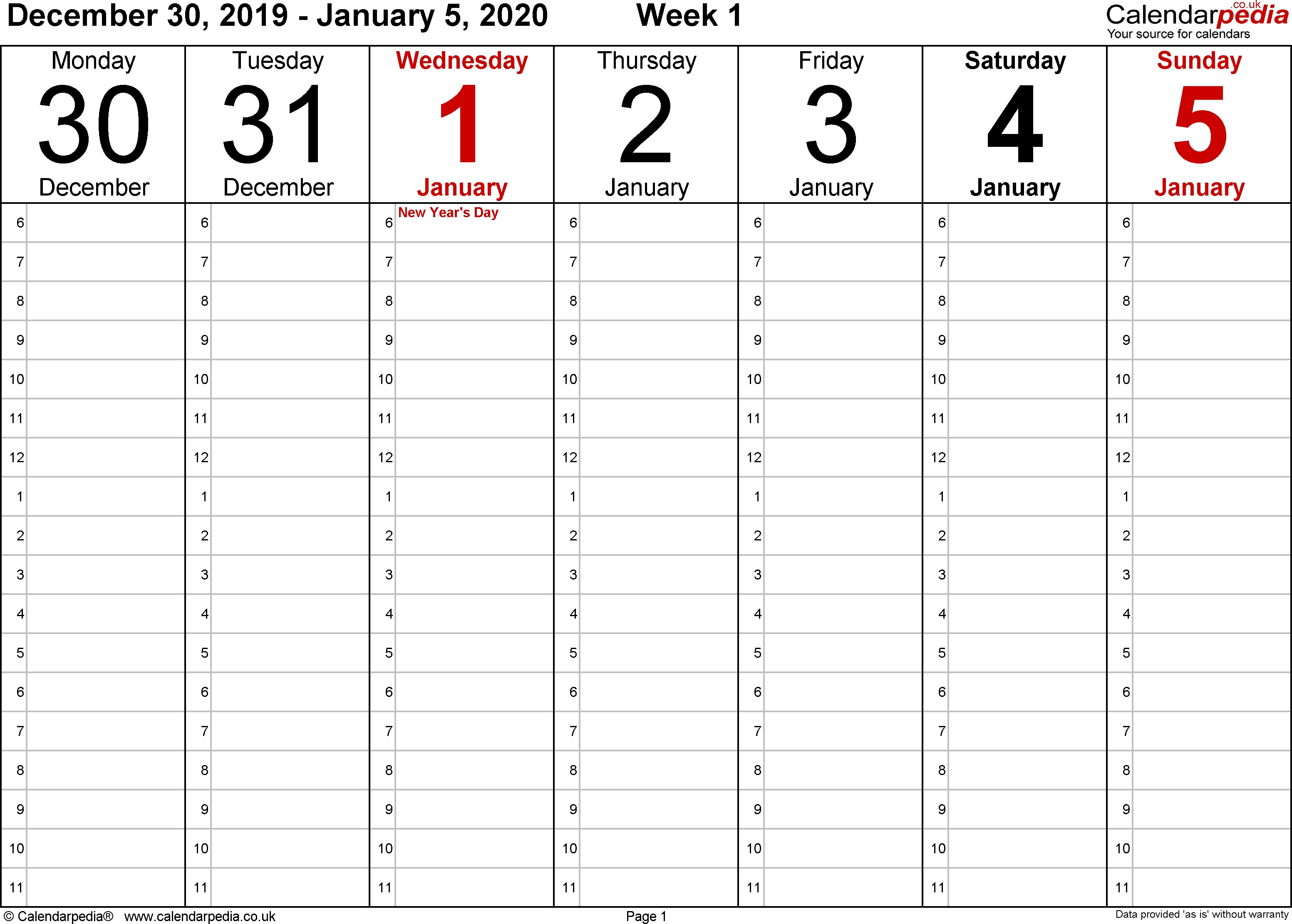 Weekly Calendar 2020 Uk - Free Printable Templates For Pdf
