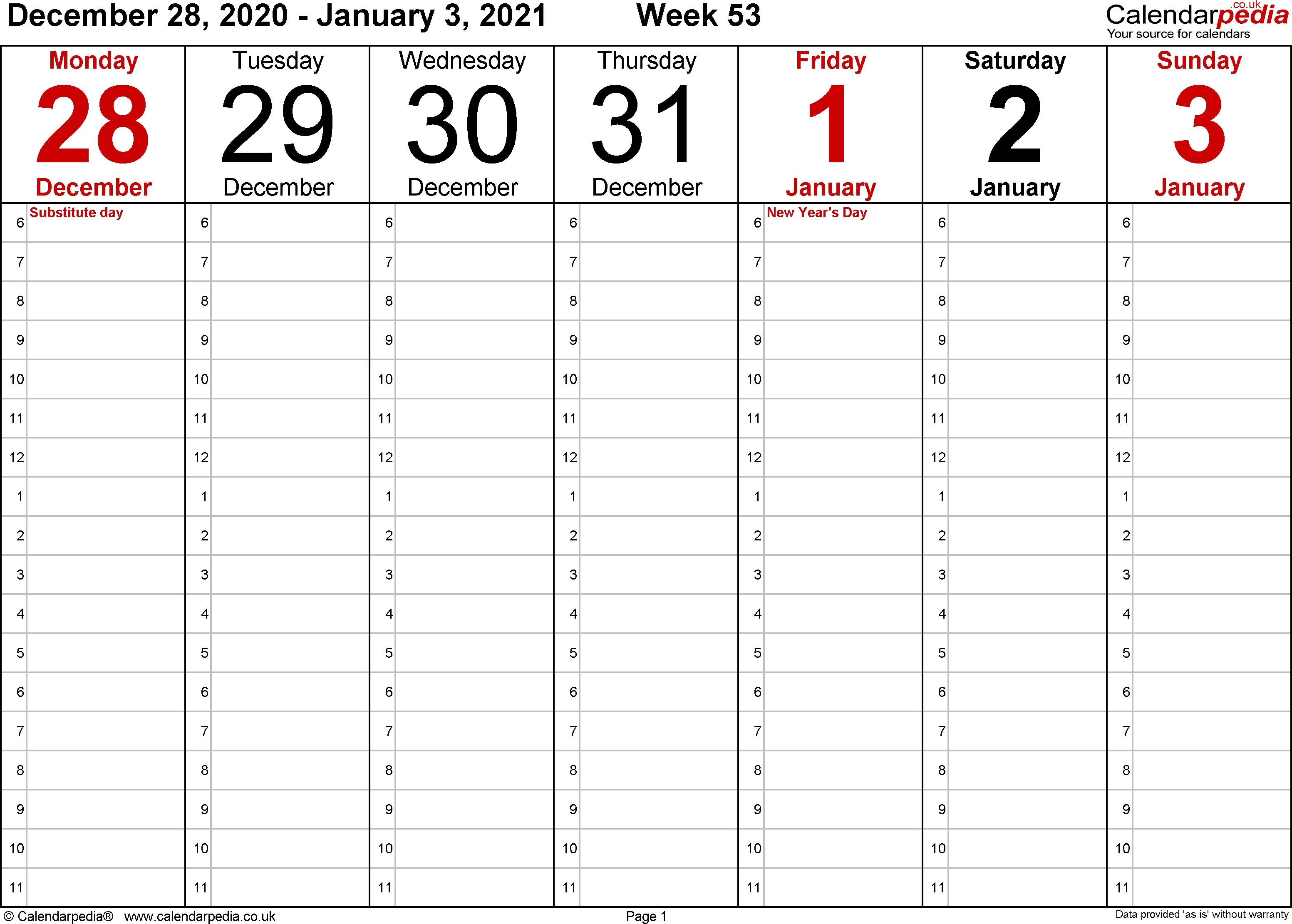 Calendar Week 53 2020 | Month Calendar Printable