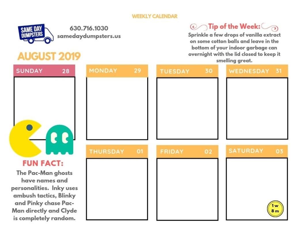 Weekly Calendar 8-2019 Week 1   Same Day Dumpsters Rental