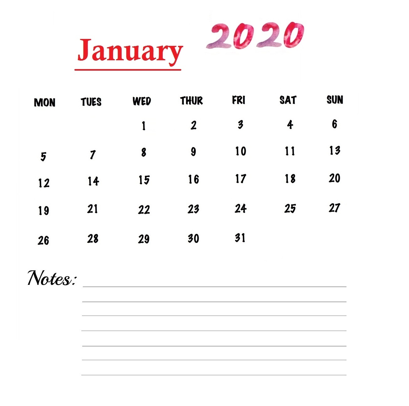 Weekly Calendar January 2020 Printable With Events