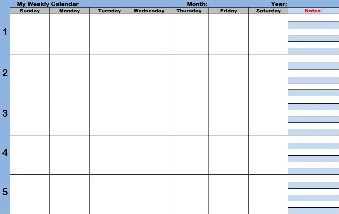 Weekly Calendar Template With Times - Free Calendar Collection