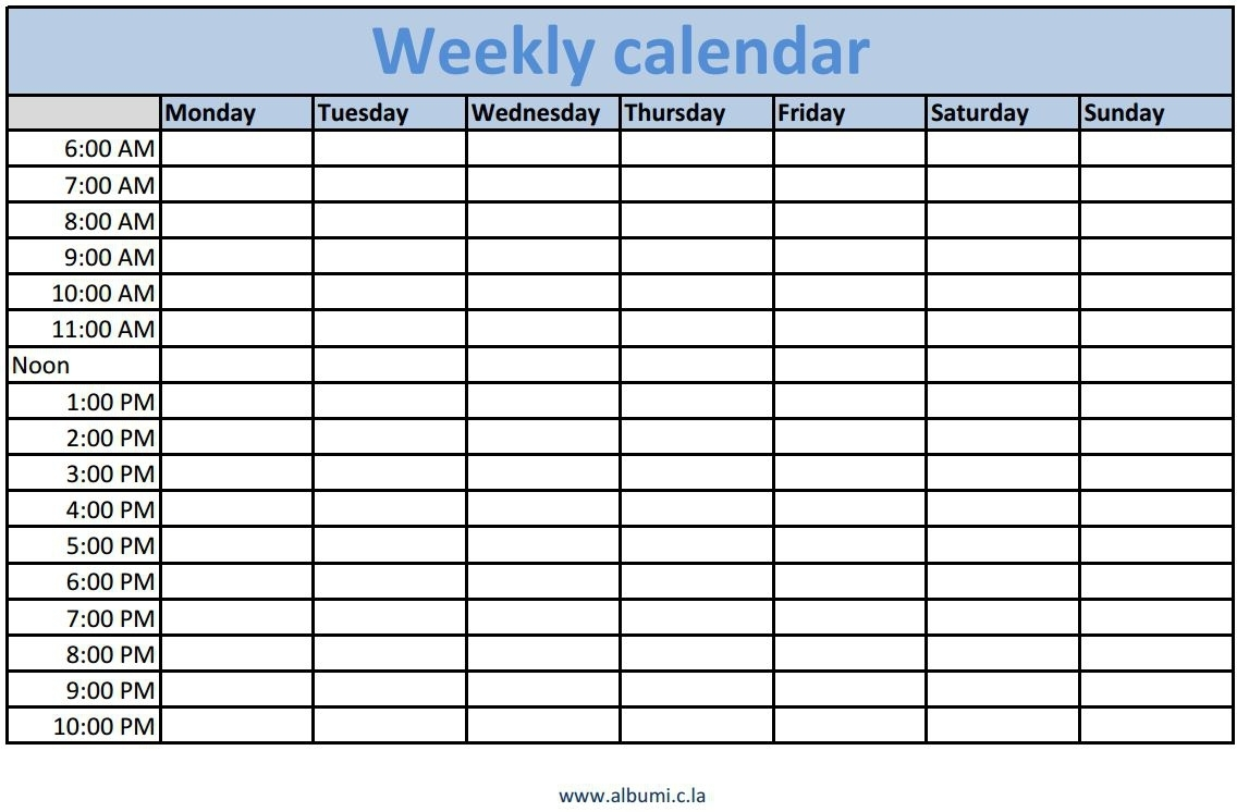Weekly Calendar With Time Slots – Monthly Printable Calendar