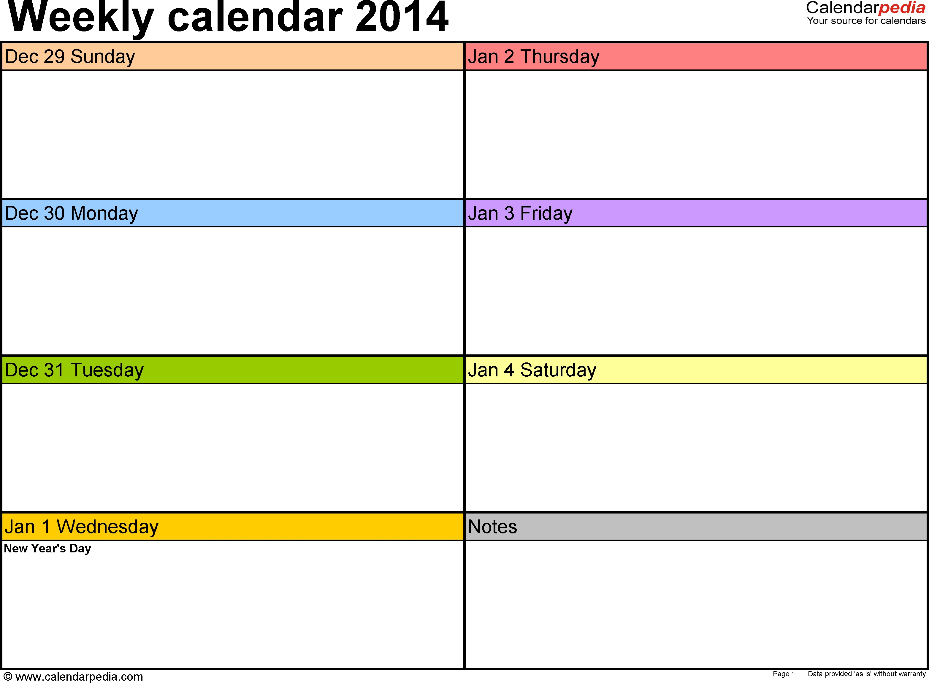 Weekly Calendars 2014 For Pdf - 4 Free Printable Templates