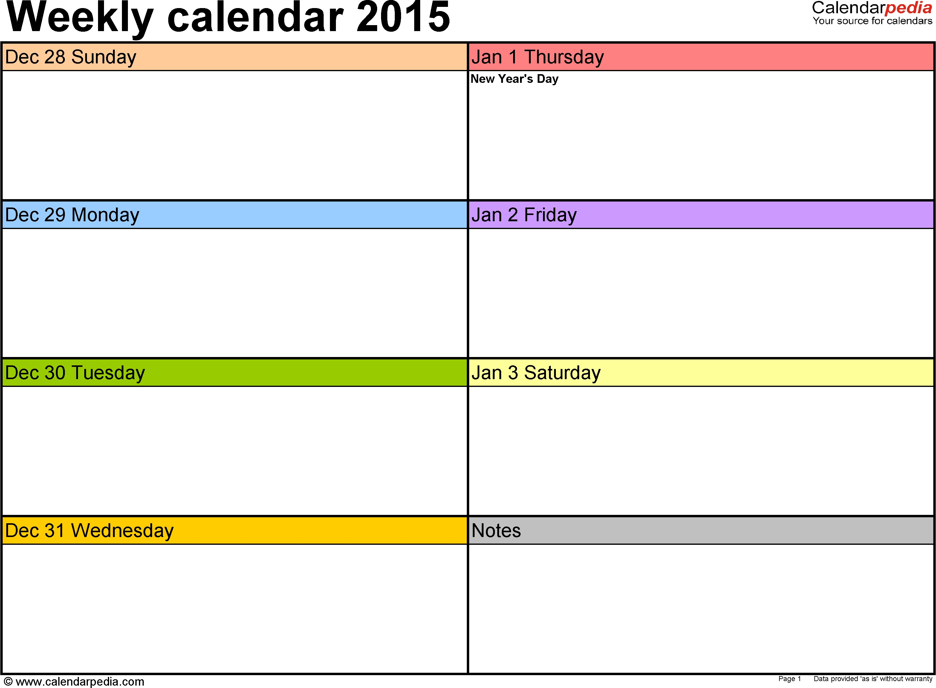 Weekly Calendars 2015 For Excel - 12 Free Printable Templates