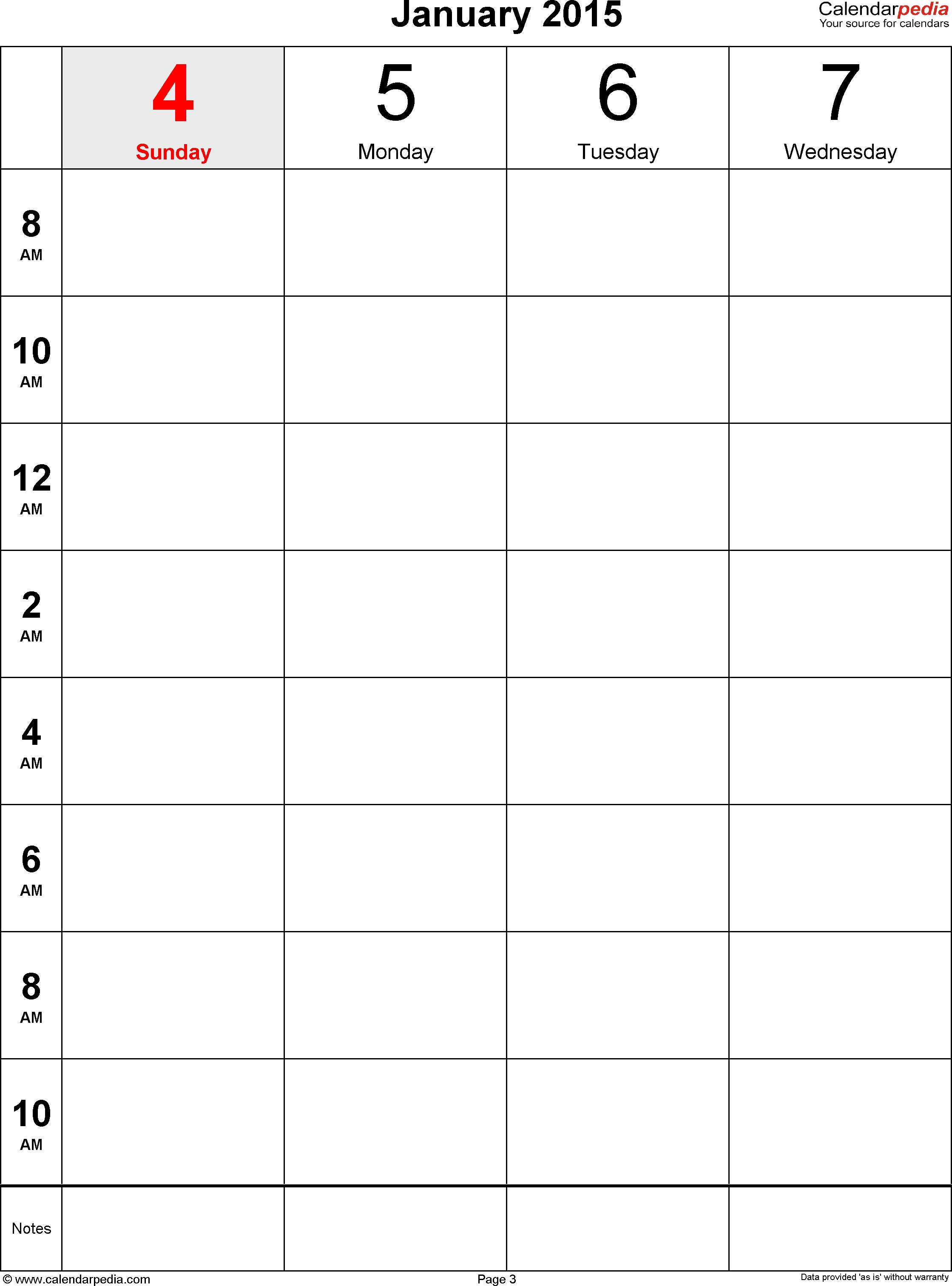 Weekly Calendars 2015 For Pdf - 12 Free Printable Templates