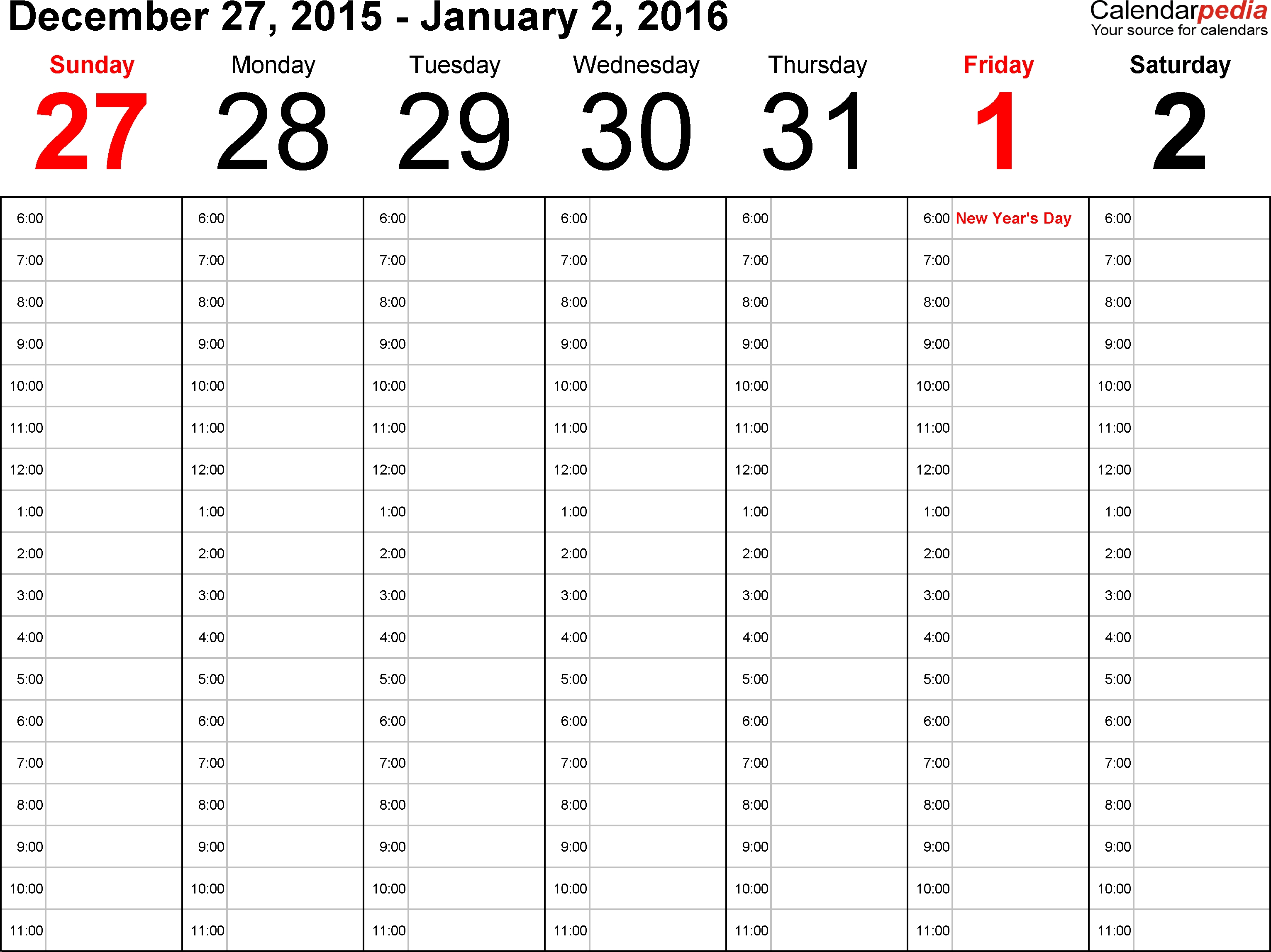 Weekly Calendars 2016 For Excel - 12 Free Printable Templates
