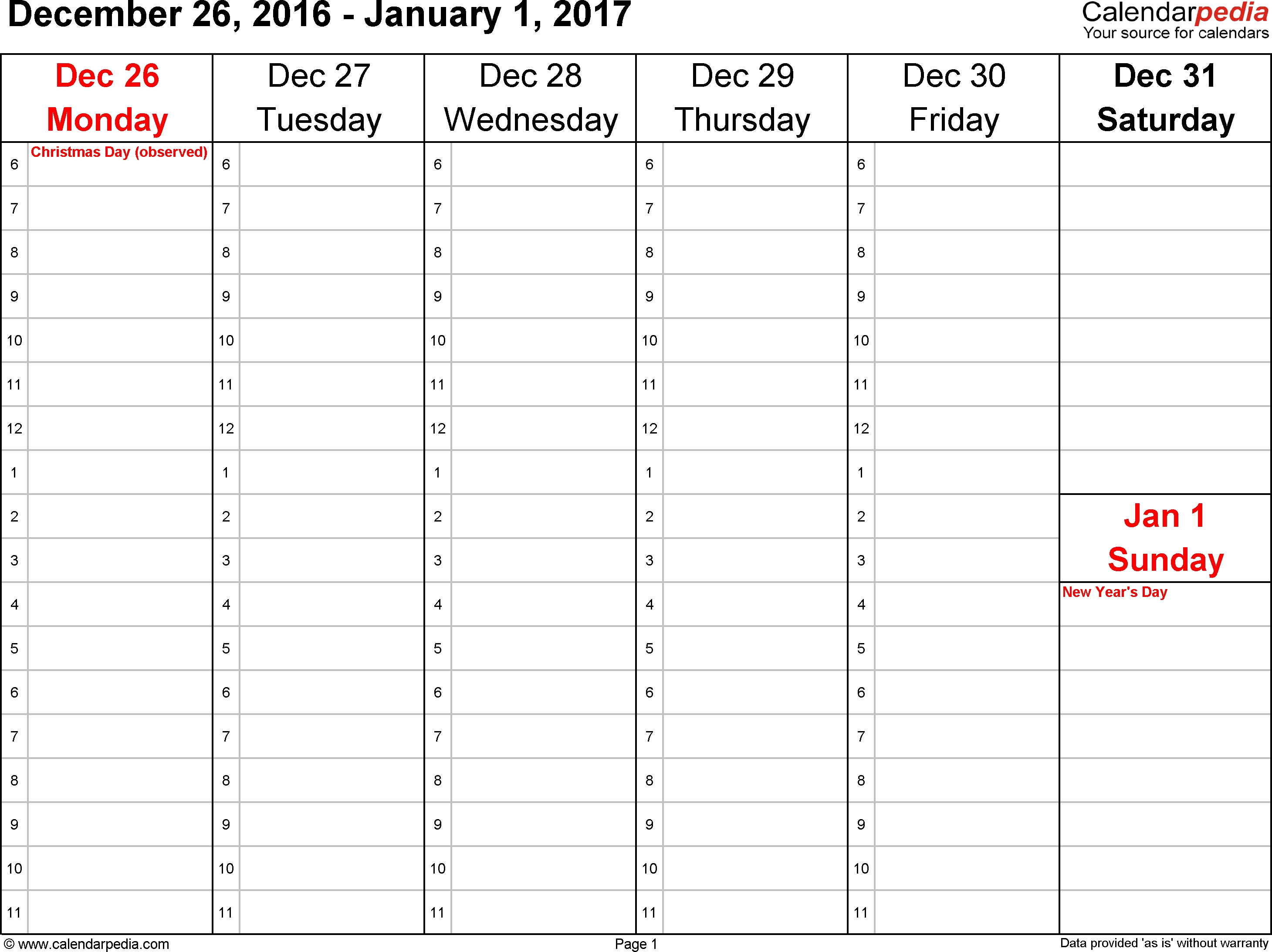Weekly Calendars 2017 For Excel - 12 Free Printable Templates