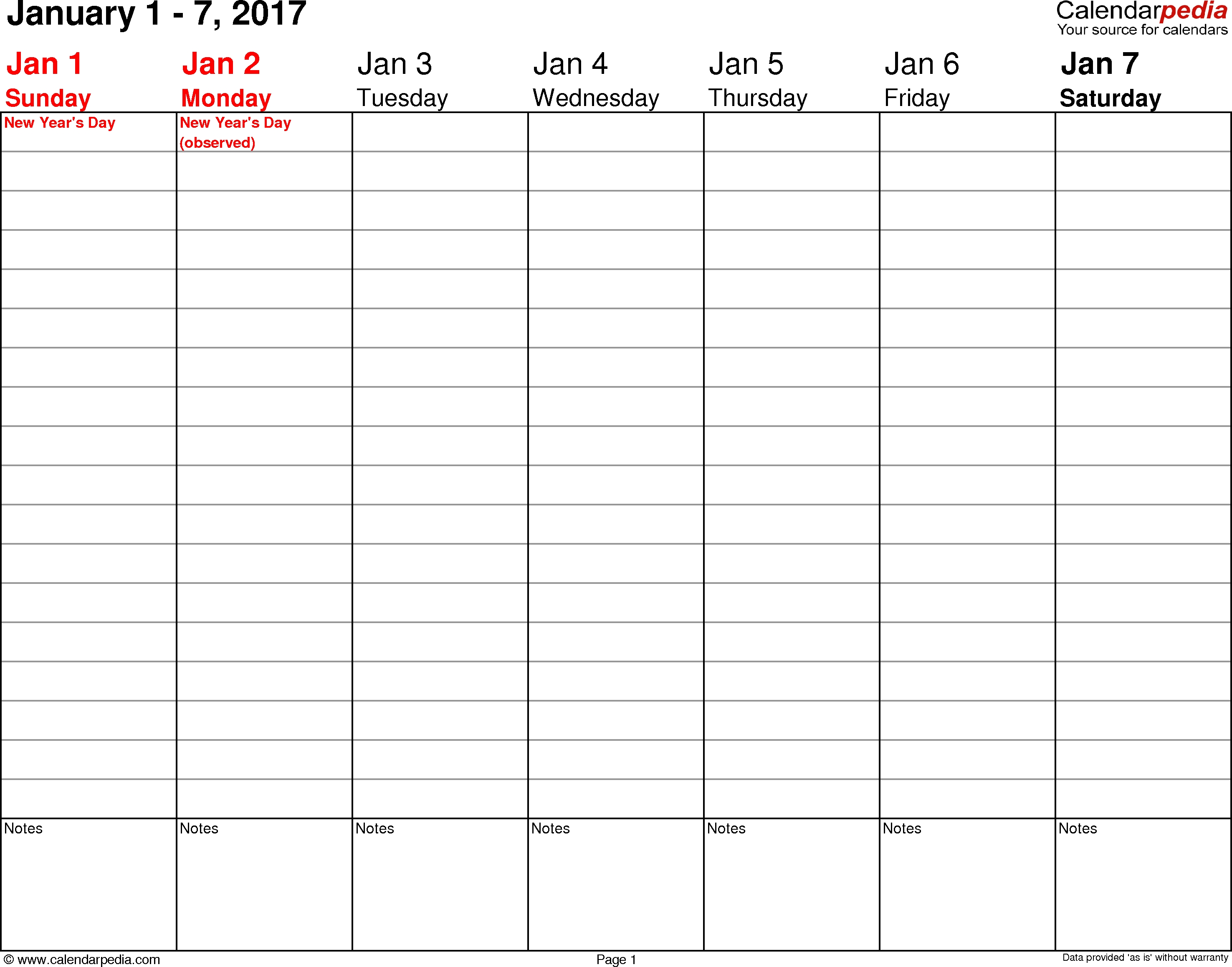 Weekly Calendars 2017 For Pdf - 12 Free Printable Templates