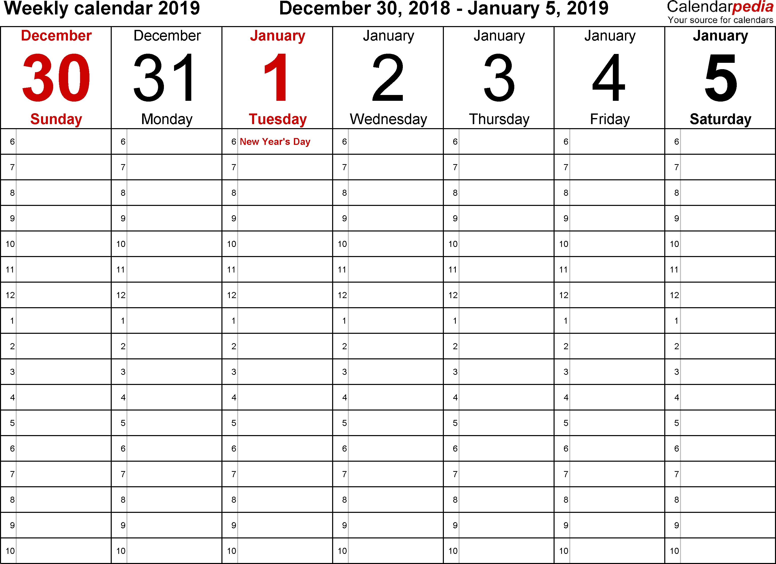 Weekly Calendars 2019 For Excel - 12 Free Printable Templates