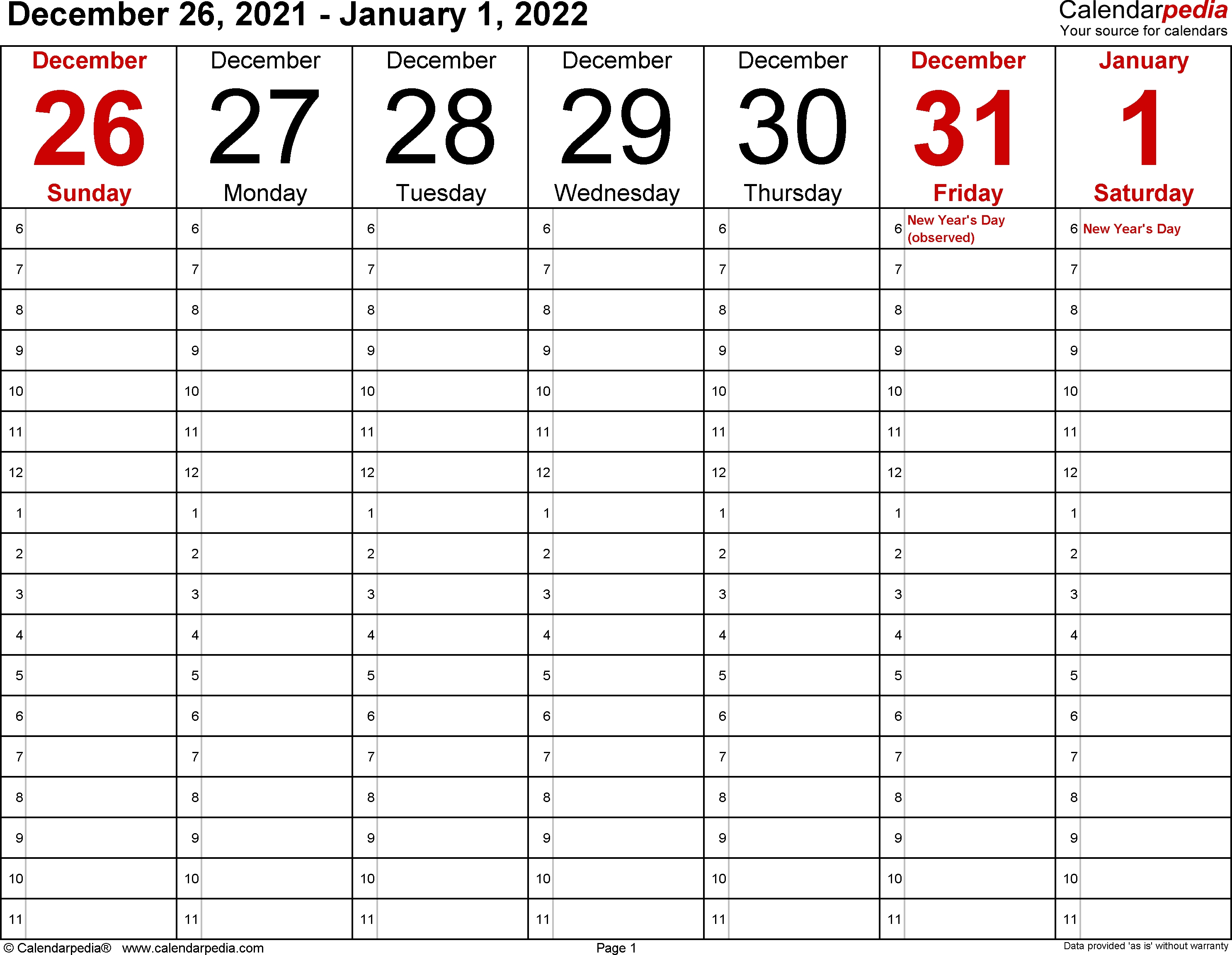 Weekly Calendars 2022 For Pdf - 12 Free Printable Templates