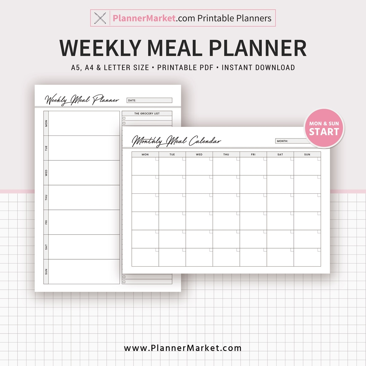 Weekly Meal Planner Inserts, 2020 Menu Planner, Monthly Meal Calendar, A5,  A4, Letter Size, Planner Refill, Planner Binder