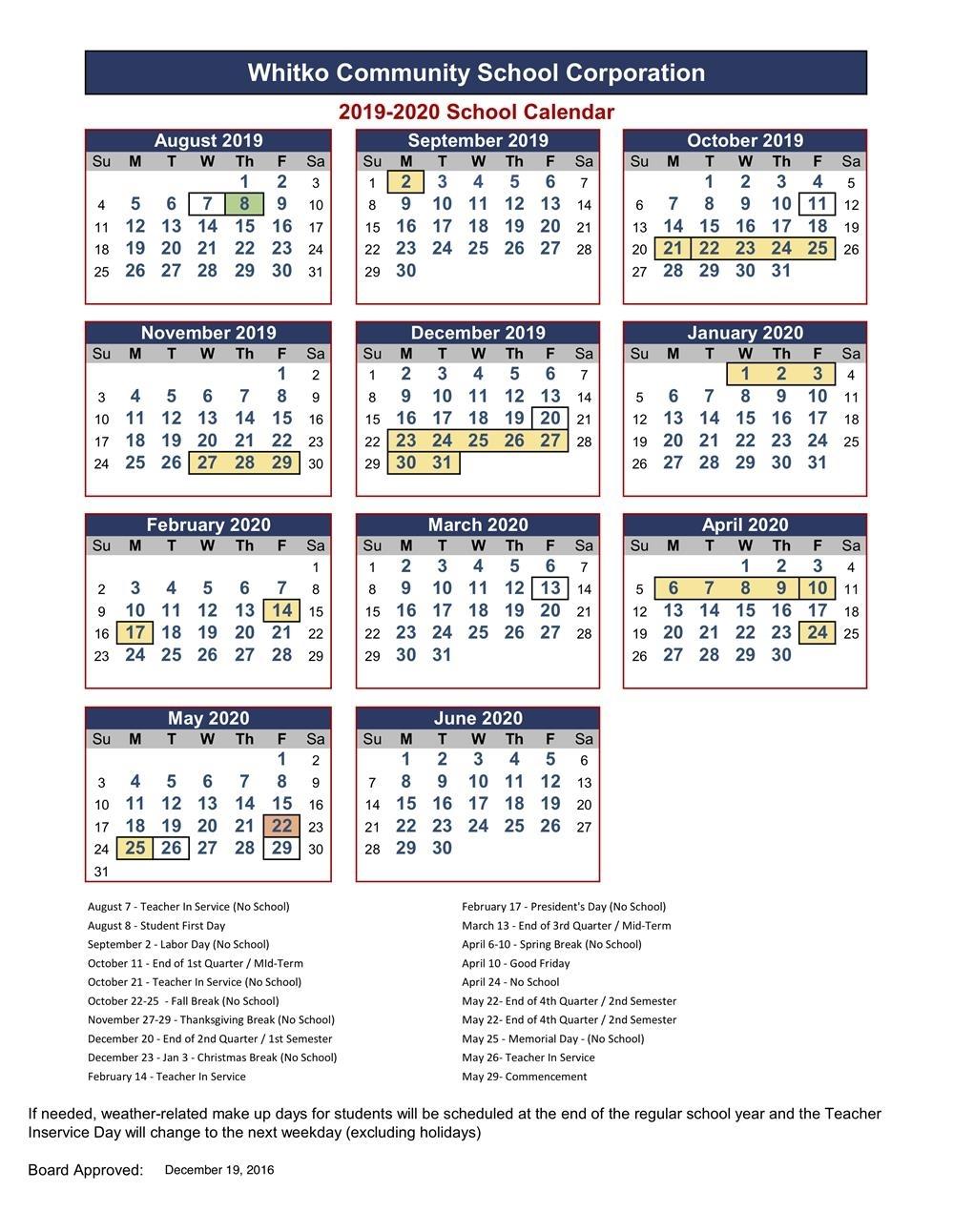 Whitko Community School Corp / Calendar
