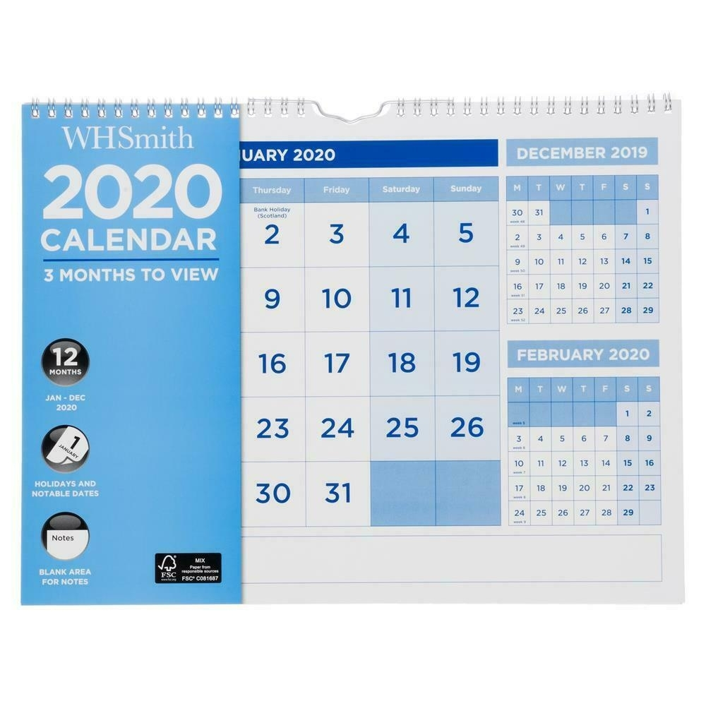 Whsmith 2020 3 Month To View Large Wall Calendar Spiral Bound With Blank  Area