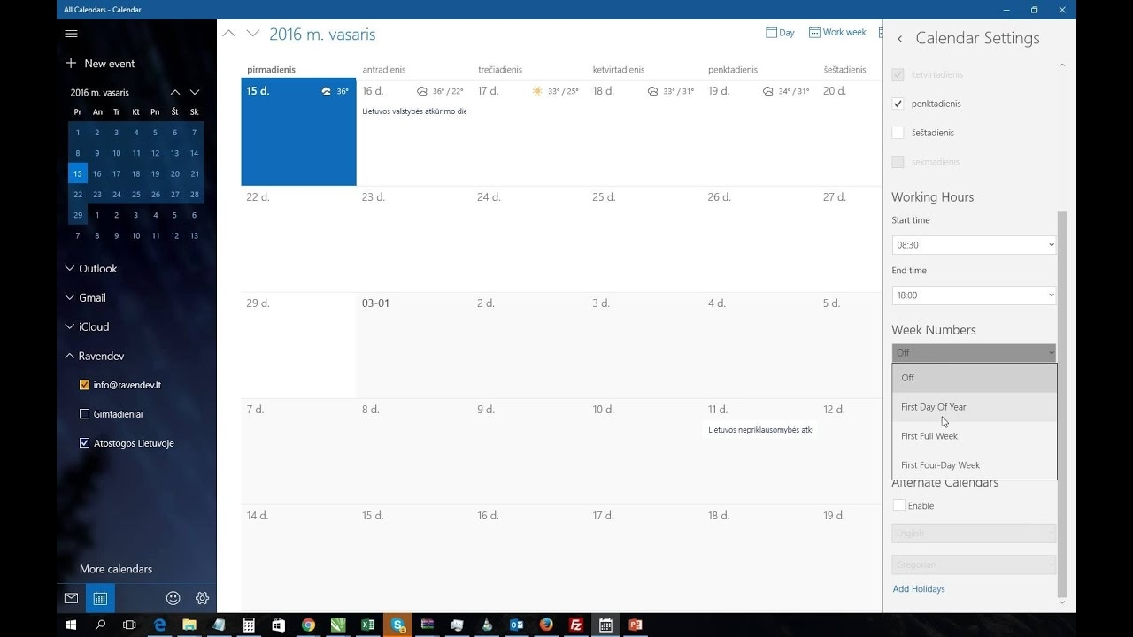 Windows 10 Calendar App Show Week Numbers