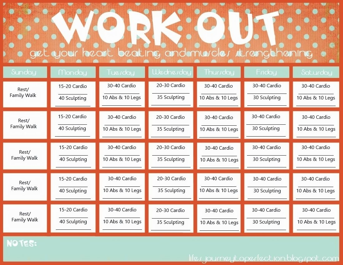 Wisdom Wednesday- Workout Calendar Printable | Workout
