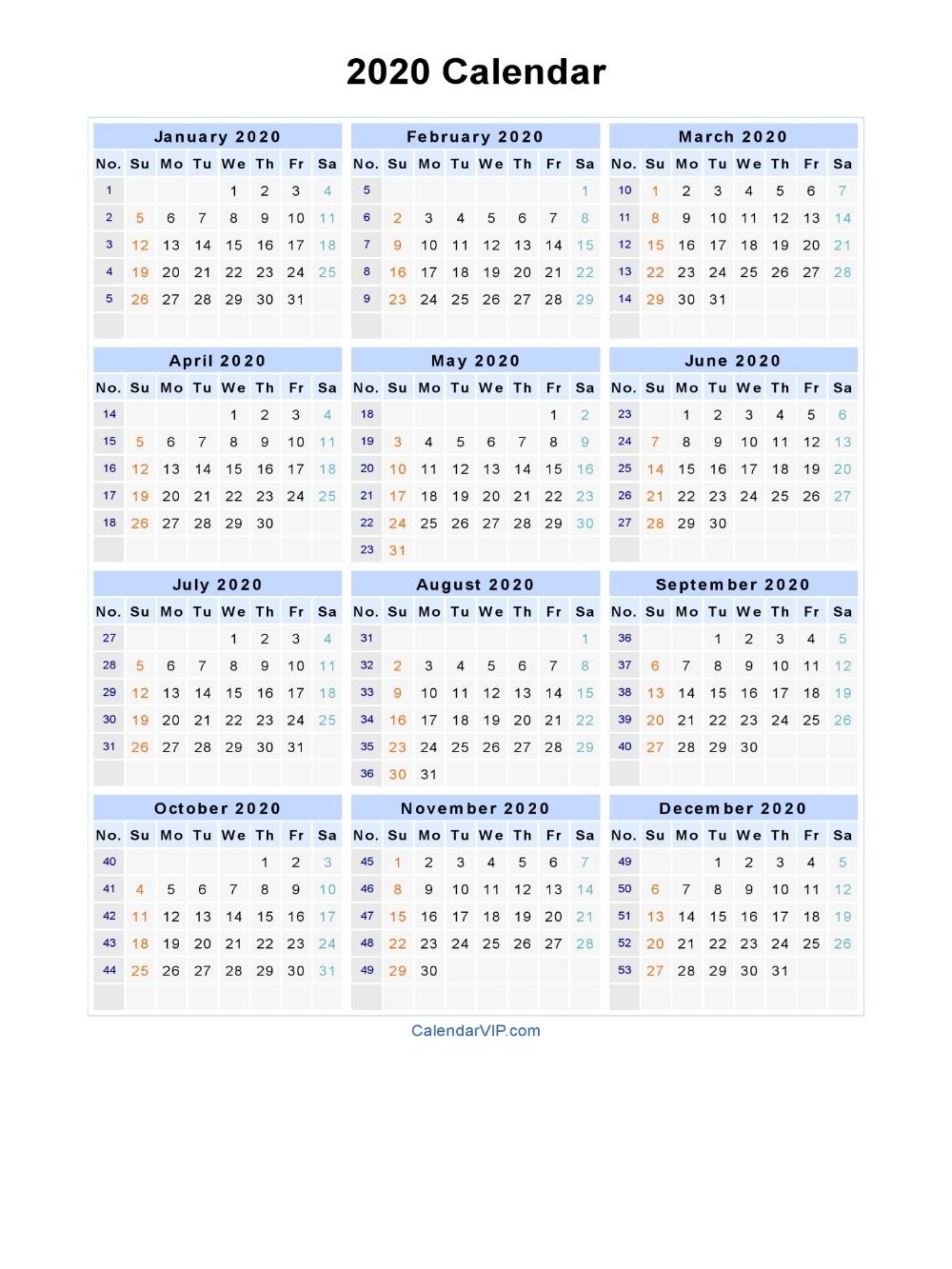 Work Week Calendar 2020 - Cerno.mioduchowski