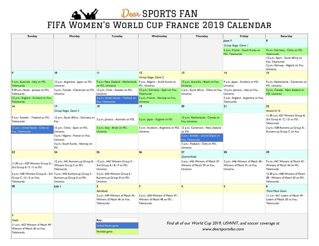 World Cup 2019 Printable, Downloadable Calendar And Game
