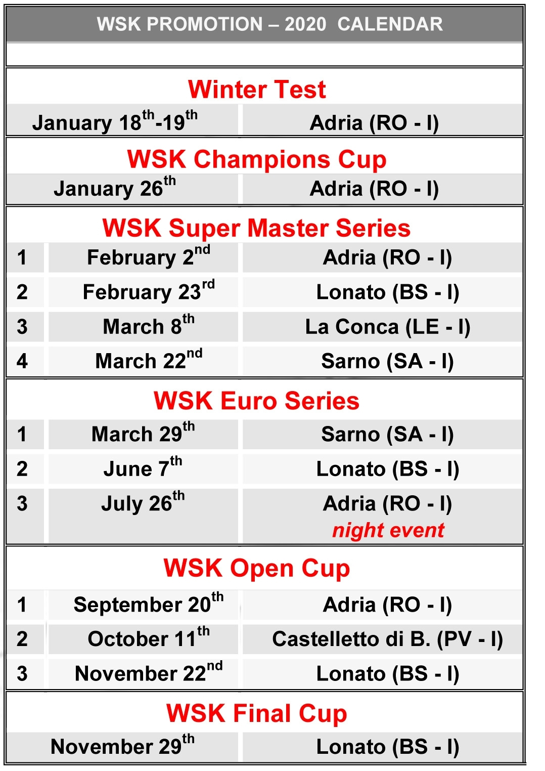 Wsk Promotion Announces Its Calendar For 2020 Season