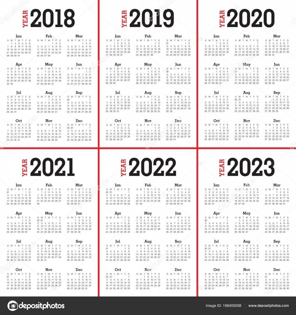 Year 2018 2019 2020 2021 2022 2023 Calendar Vector — Stock