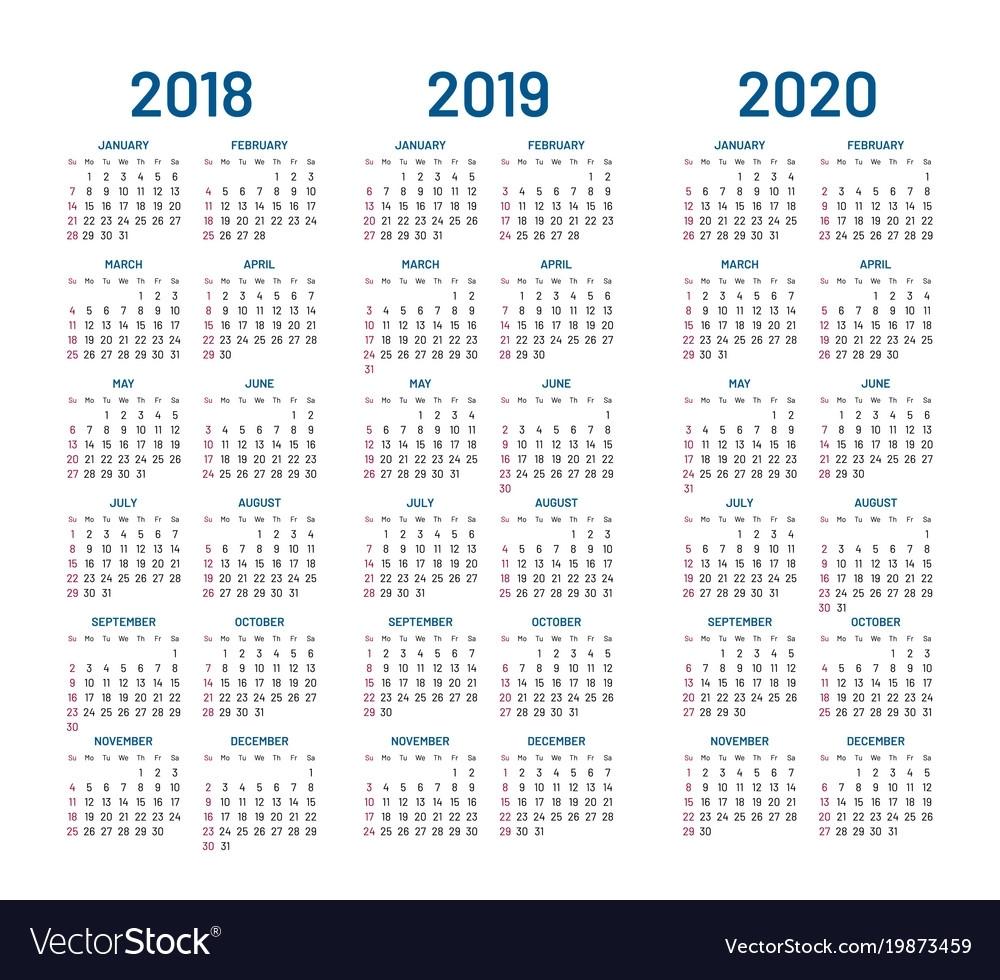 Year 2018 2019 2020 Calendar