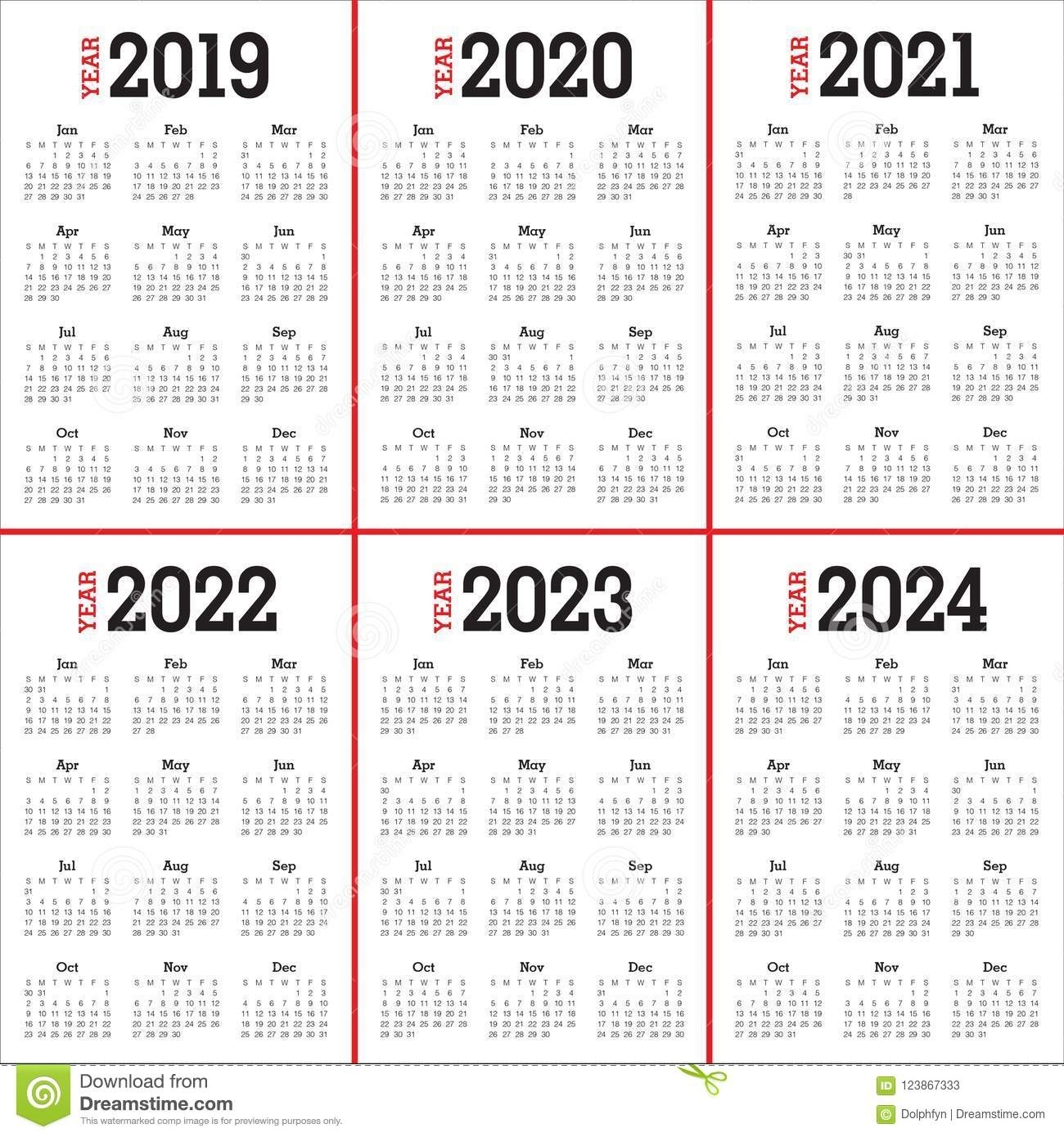 Year 2019 2020 2021 2022 2023 2024 Calendar Vector Design