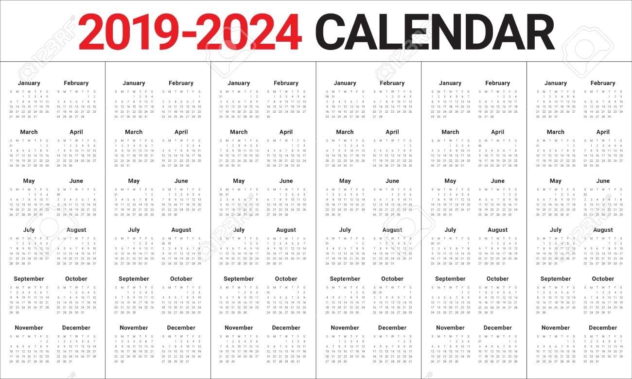 Year 2019 2020 2021 2022 2023 2024 Calendar Vector Design Template,..