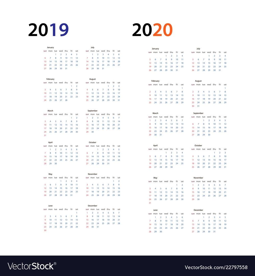 Year 2019 And Year 2020 Calendar Horizontal