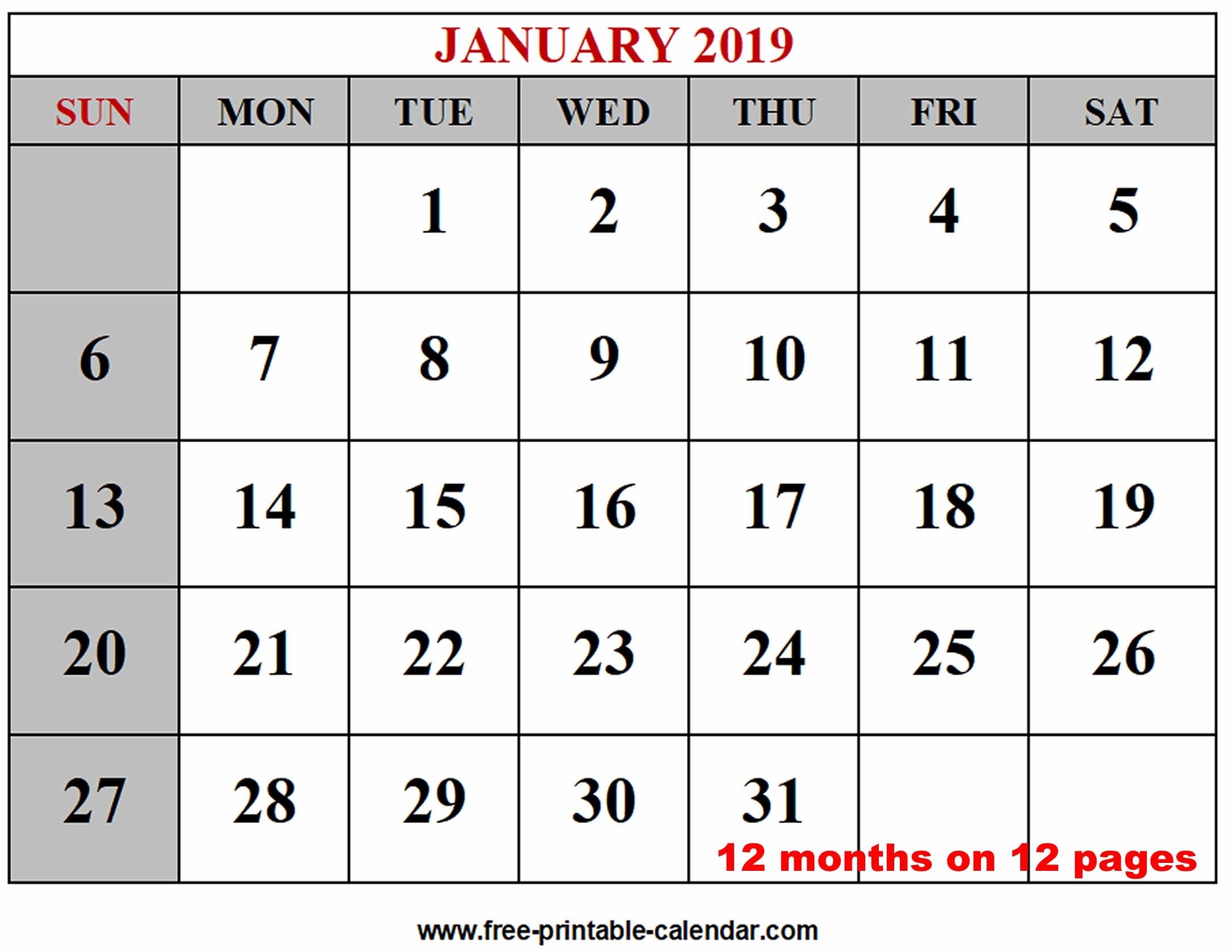 Year 2019 Calendar Templates - Free-Printable-Calendar