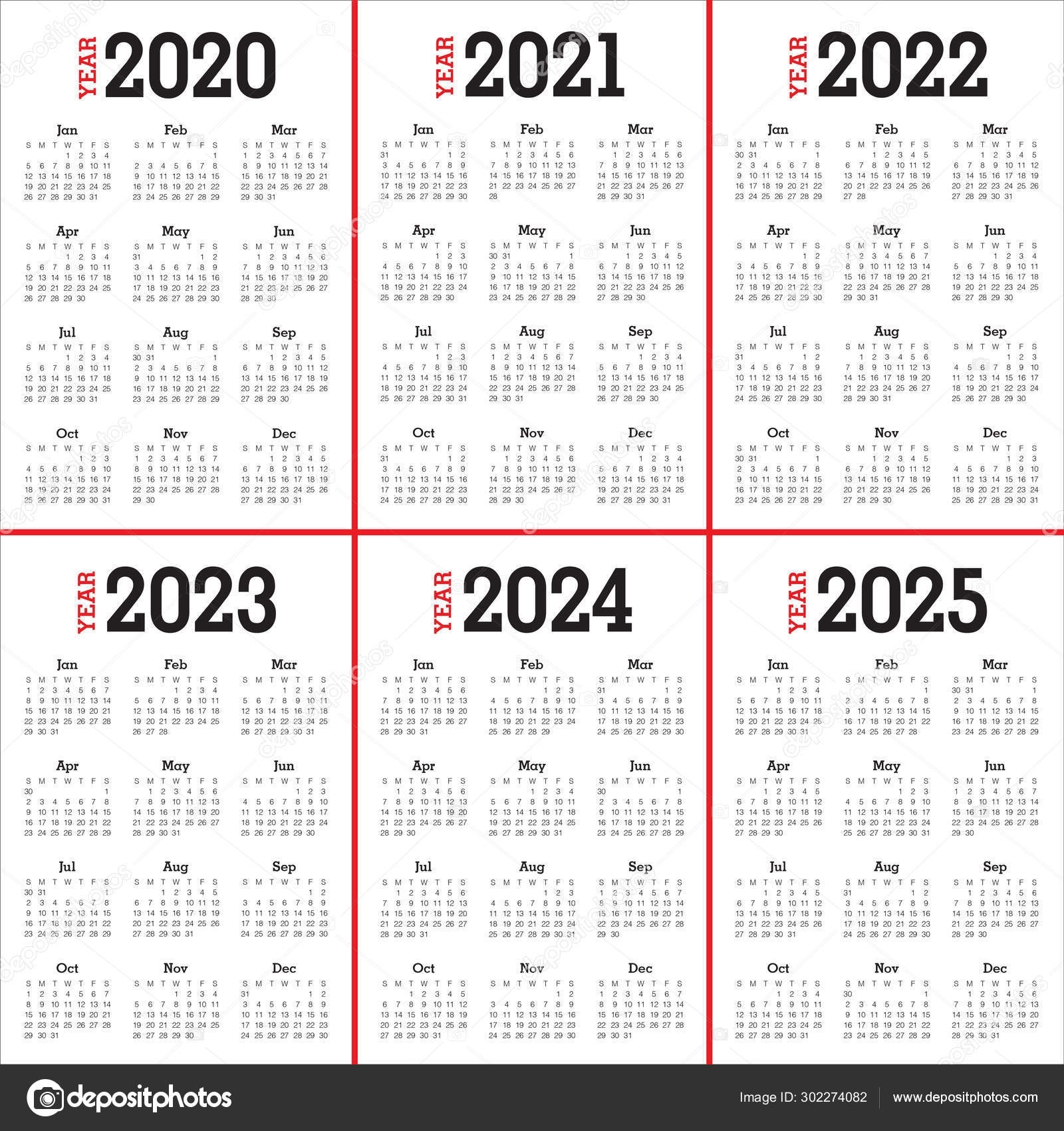 Year 2020 2021 2022 2023 2024 2025 Calendar Design — Stock