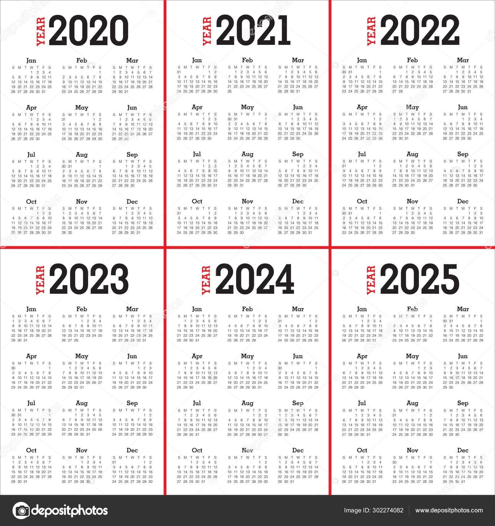 Year 2020 2021 2022 2023 2024 2025 Calendar Design — Stock