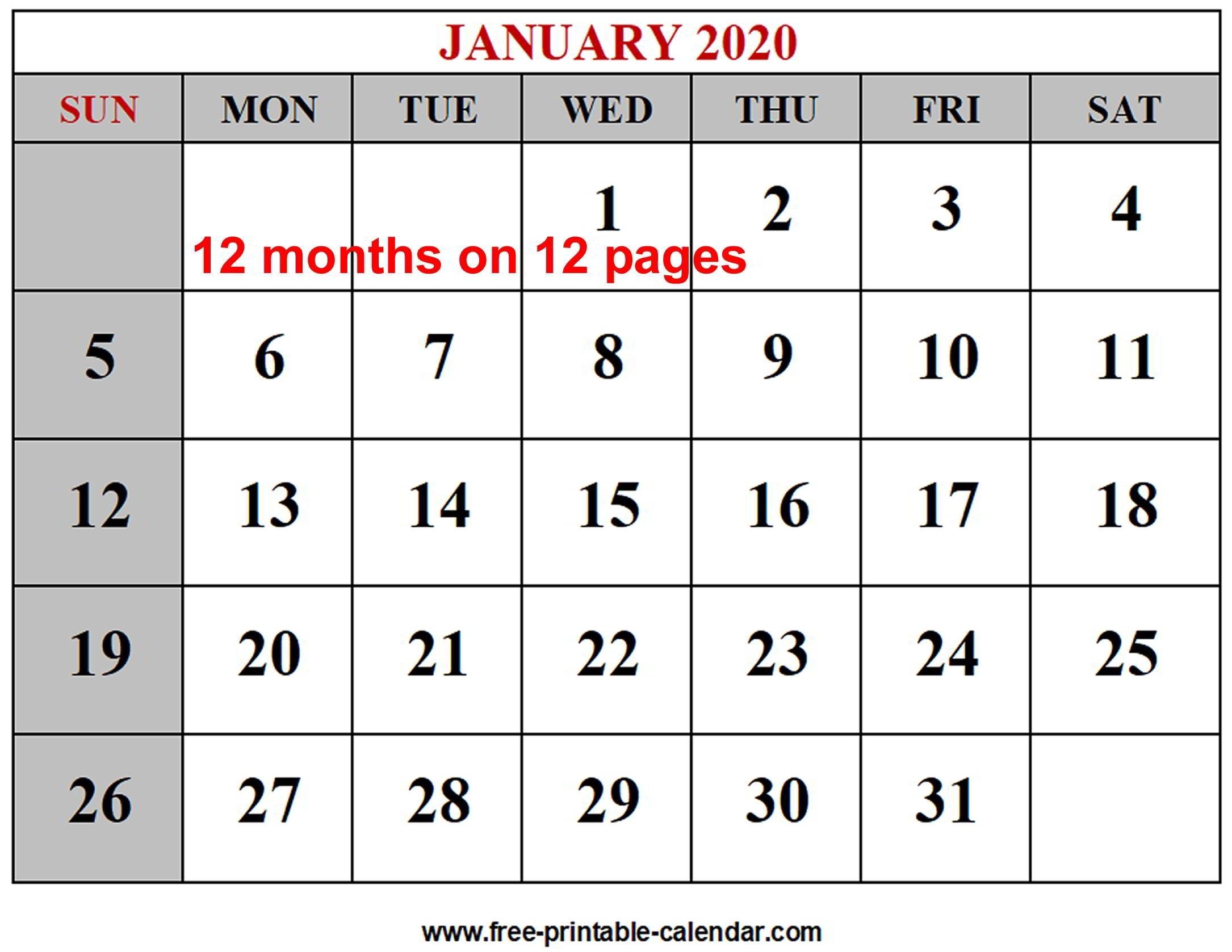 Year 2020 Calendar Templates - Free-Printable-Calendar