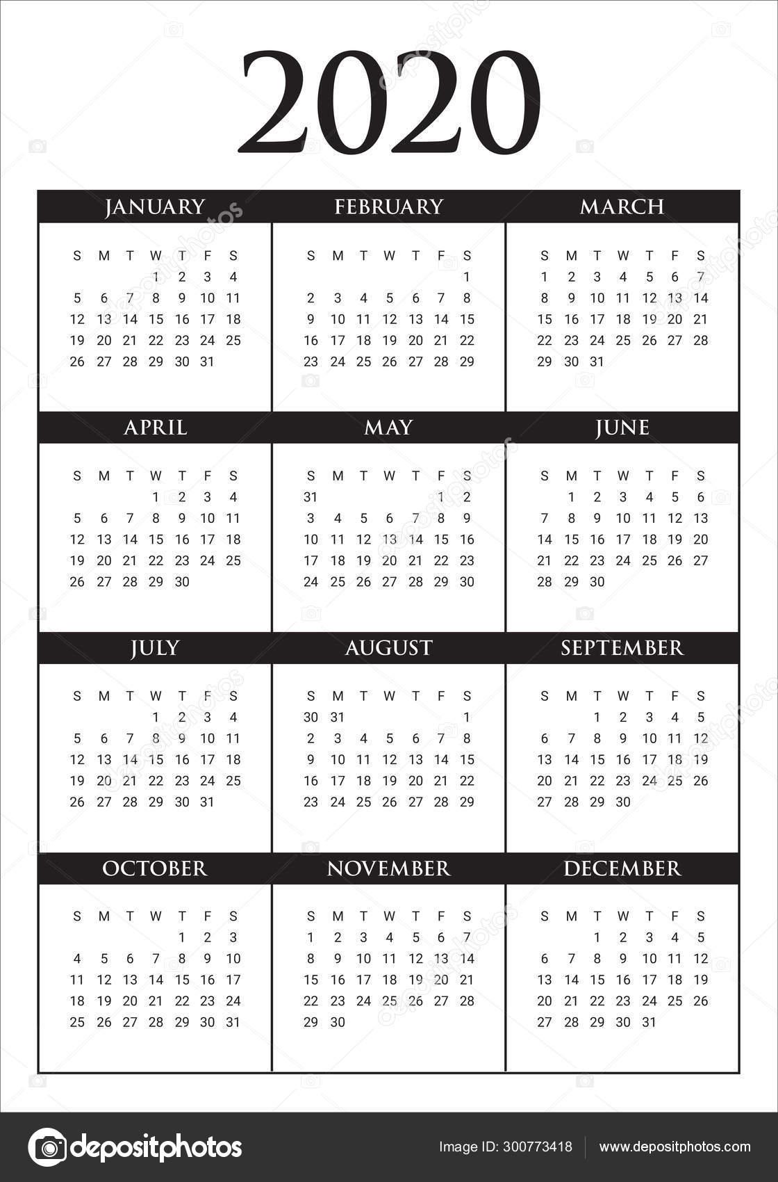 Year 2020 Calendar Vector Design Template — Stock Vector
